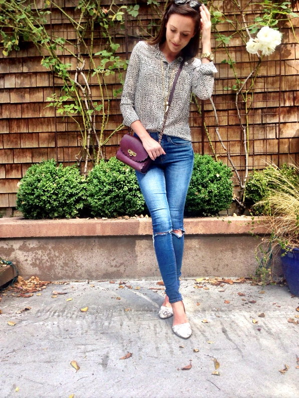 Shop the Look Below. Top: Sheinside. Jeans: ASOS. Shoes: Dolce Vita via Tjmaxx. Bag: ASOS. Necklaces: Stella & Dot. Watch: Michael Kors