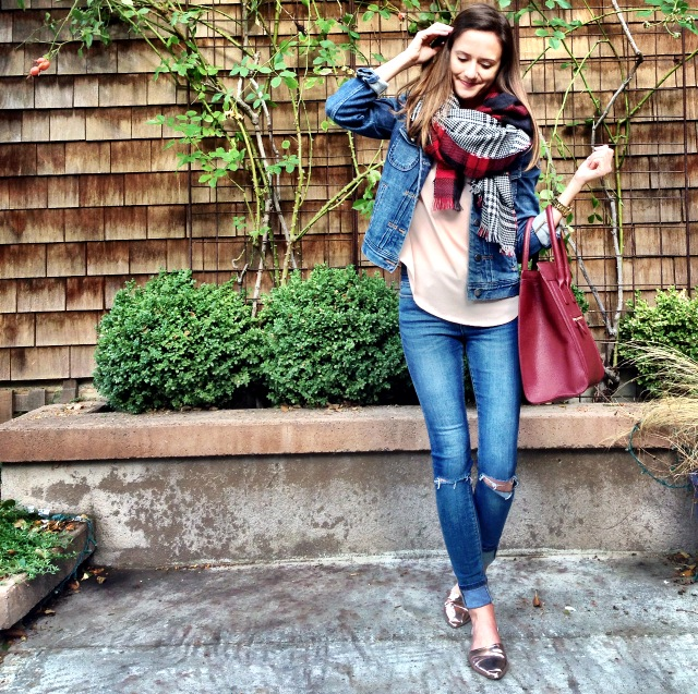 Shop the Look Below. Scarf: Brina Box. Jeans: ASOS. Jacket: Jcrew Factory. Shoes: Chinese Laundry. Bag: Forever21.