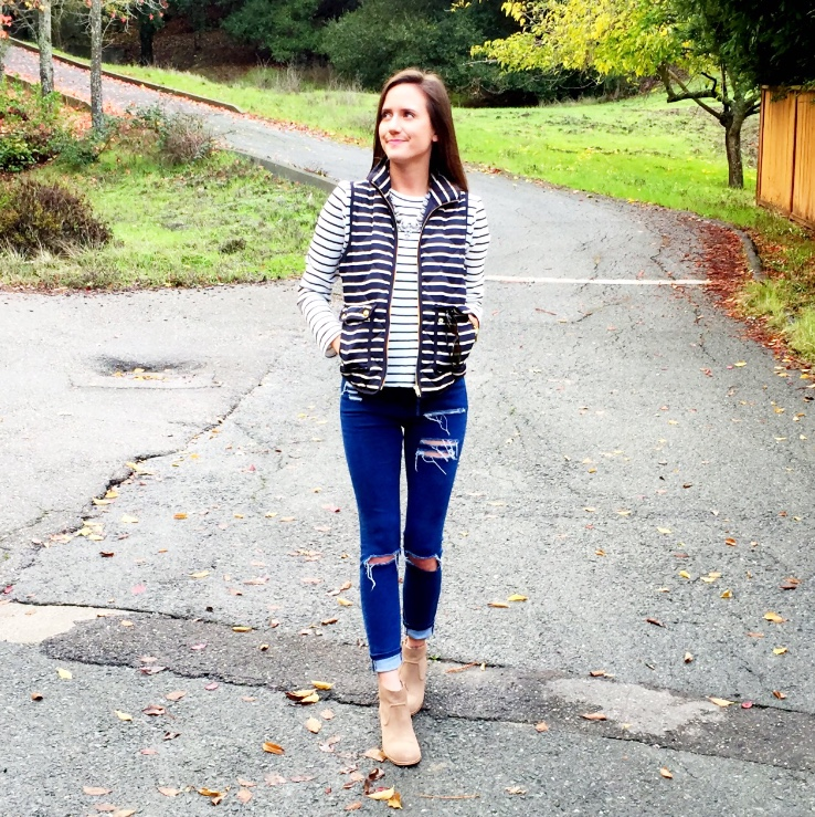 Shop the Look Below. Vest: Jcrew (see similar below) Top: Local Department Store (brand is Timing) Jeans: ASOS. Shoes: Dolce Vita via Marshall's. Necklace: Benevolent Jewels.