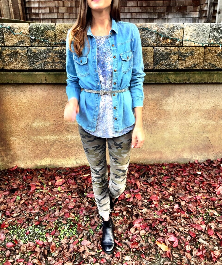 Shop the Look Below. Top: Marshall's. Pants: Rich and Skinny. Chambray: Forever21. Belt: Target. Shoes: Marshall's.
