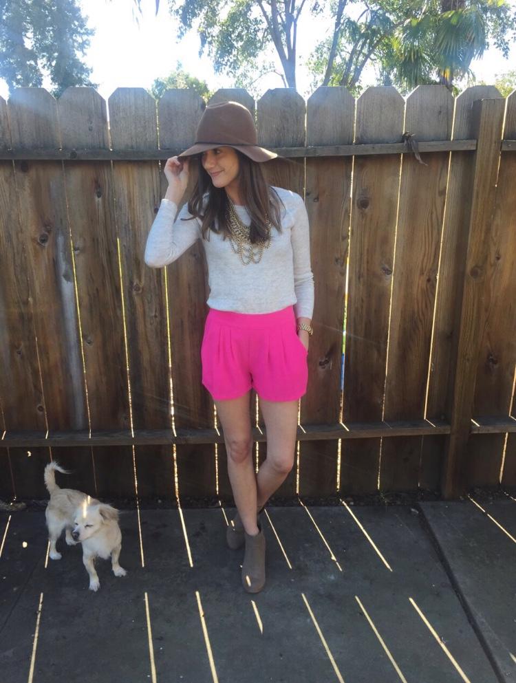 Shop the Look Below. Shorts: Blush Boutique c/o. Top: Loft. Shoes: Dolce Vita. Necklace: Baublebar. Hat: Target