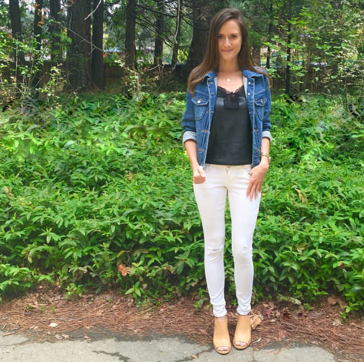 Shop the Look Below. Top: Jewel Be Mine, c/o. Jeans: Old Navy. Jacket: J.Crew Factory. Shoes: Bandolino via Marshall's. Necklace:  Taudrey , c/o