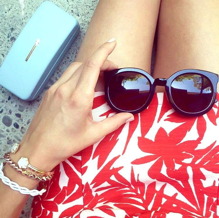 Shop the Look Below. Karen Walker  Super Duper Strength Sunglasses c/o DITTO . Dress: c/o  SheIn .  Romper  (in photo below): c/o SheIn.  Braid  and  Spike  Bracelets: c/o BaubleBar.  Druzy Bracelet : Kendra Scott. Bag (below):  Forever21