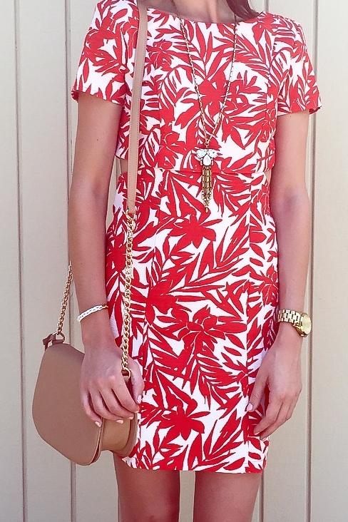 Shop the Look Below. Dress: c/o  SheIn . Bag: Forever21.  Necklace  and  Bracelet : c./oBaubleBar. Shoes:  Old Navy .