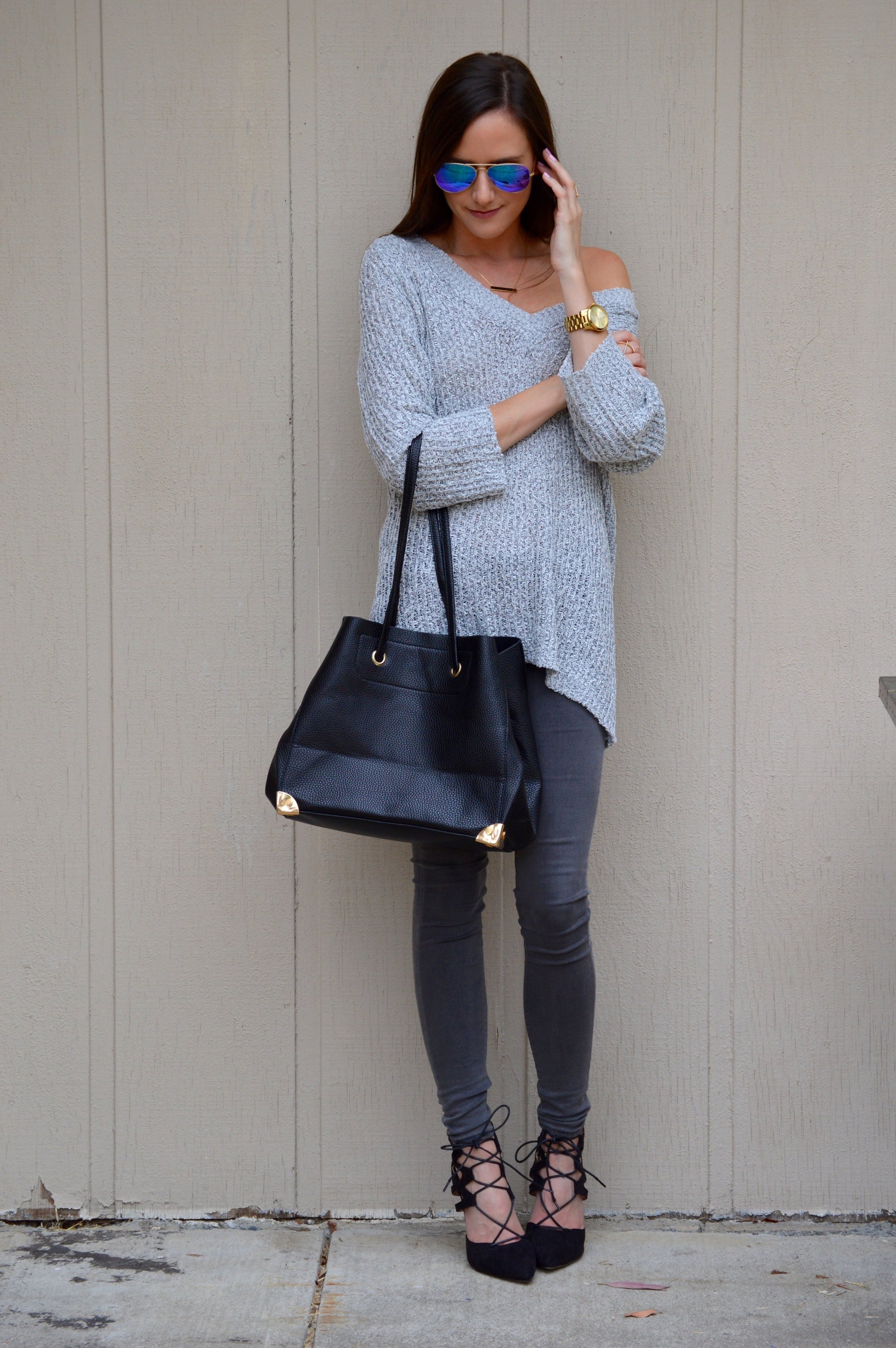 Shop the Look Below.  Sweater: c/o Lookbook Store--sold out, but similar  here  and  here . Jeans: AG (sold old) similar  here . Shoes: c/o  Sheinside . Bag: c/o  Lookbook Store . Watch:  Michael Kors . Sunnies: Old. See similar  here  and  here  and  here  for $12! . Ring: c/o  BaubleBar . Necklace: c/o  BaubleBar --currently on waitlist, but similar  here.