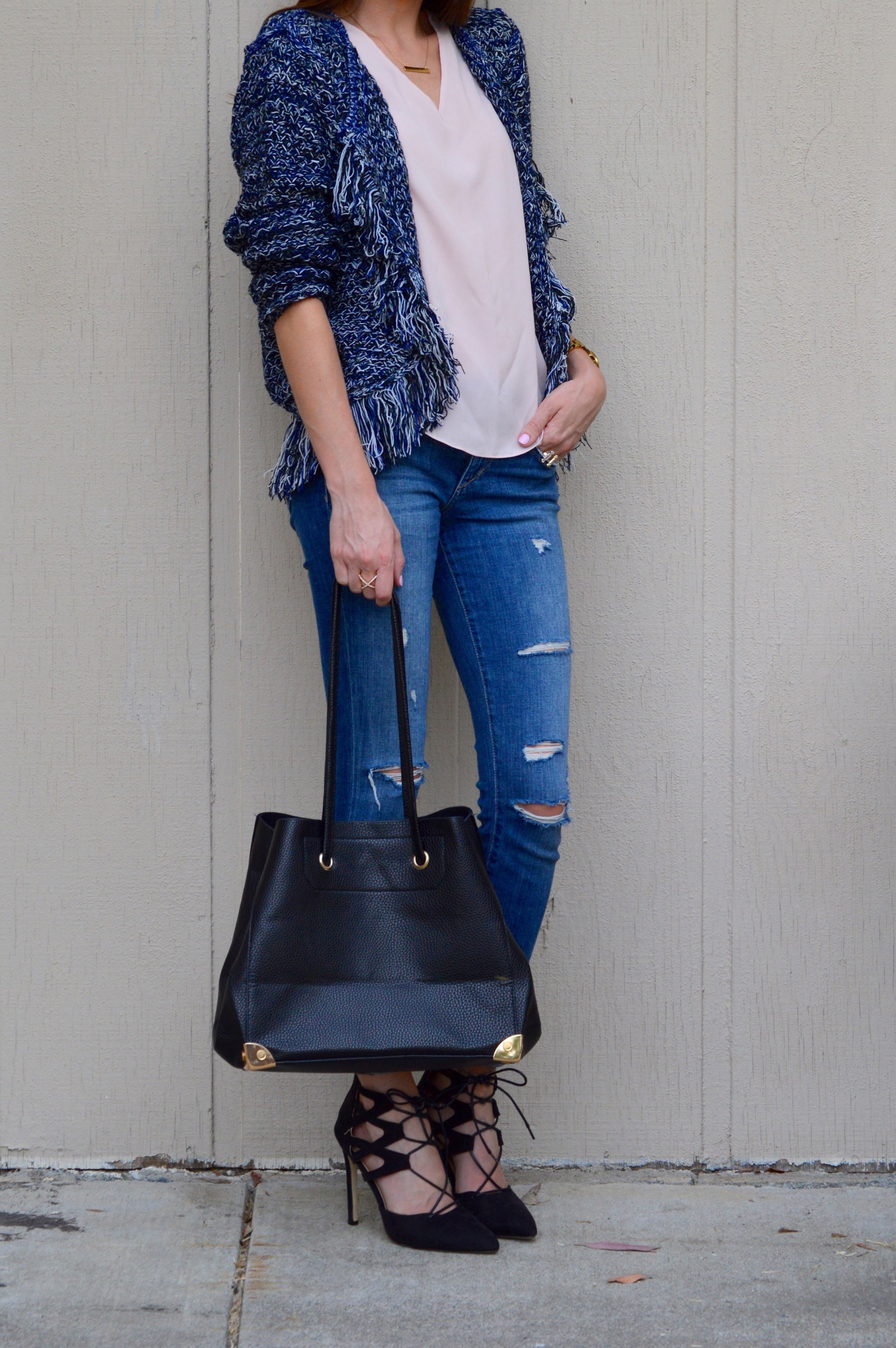 Shop the Look Below. Jacket: c/o  Lookbook Store . Jeans: Joe's. Shoe: c/o  SheIn . Top: Revolve . Bag: c/o  Lookbook Store . Sunglasses: Old--see similar  here and  here (for $12!) Watch: Michael Kors . Necklace: c/o  BaubleBar --waitlisted, but similar  here .