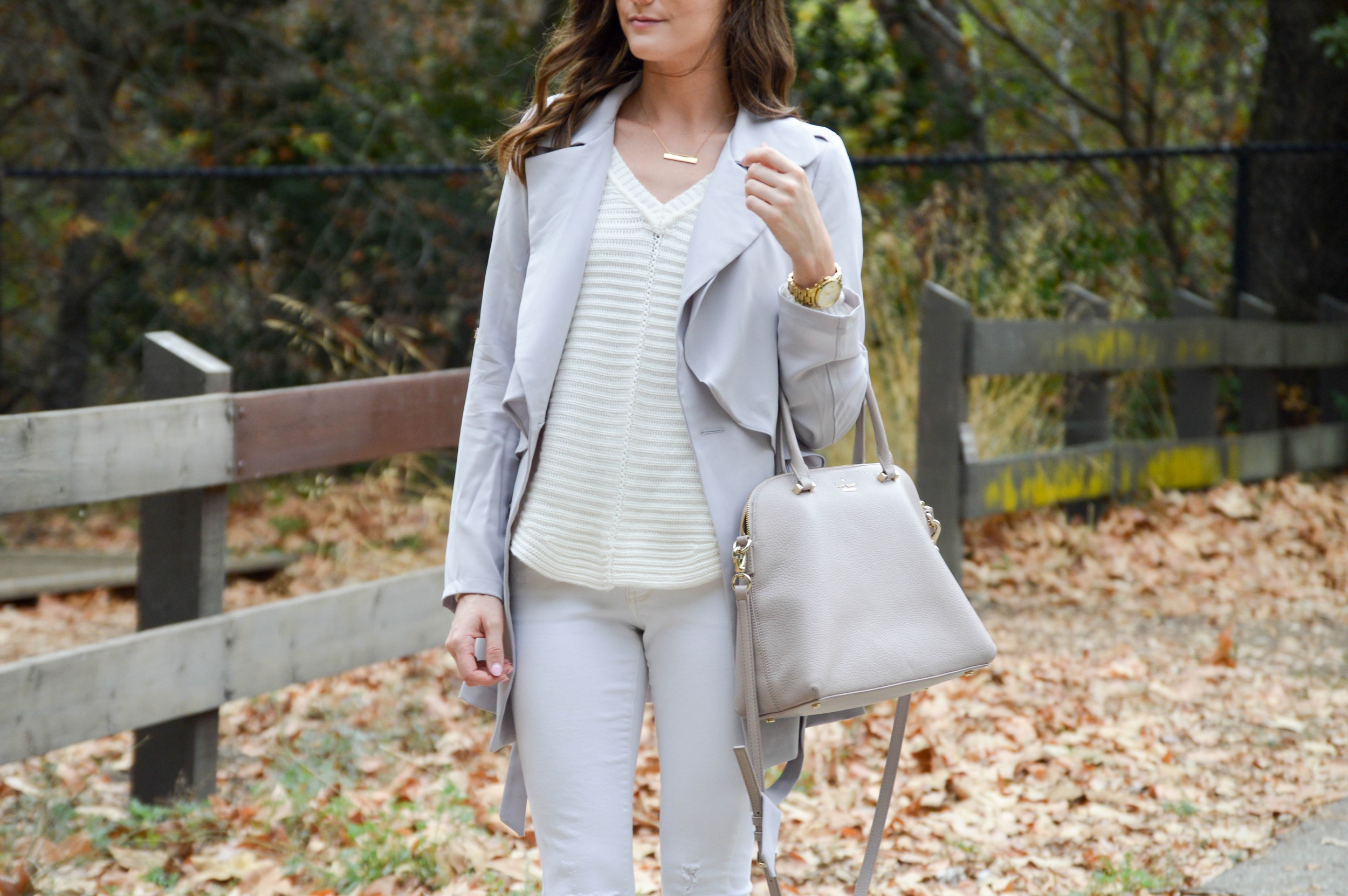 Shop the Look Below. Sweater: Sam Edelman for only $35!Trench: c/o  Chic Wish . Jeans: Old. See similar here for only $58!Shoes: Vince . Bag: Kate Spade . Necklace: BaubleBar (on waitlist, but similar  here .) Sunglasses: Similar  here and  here .