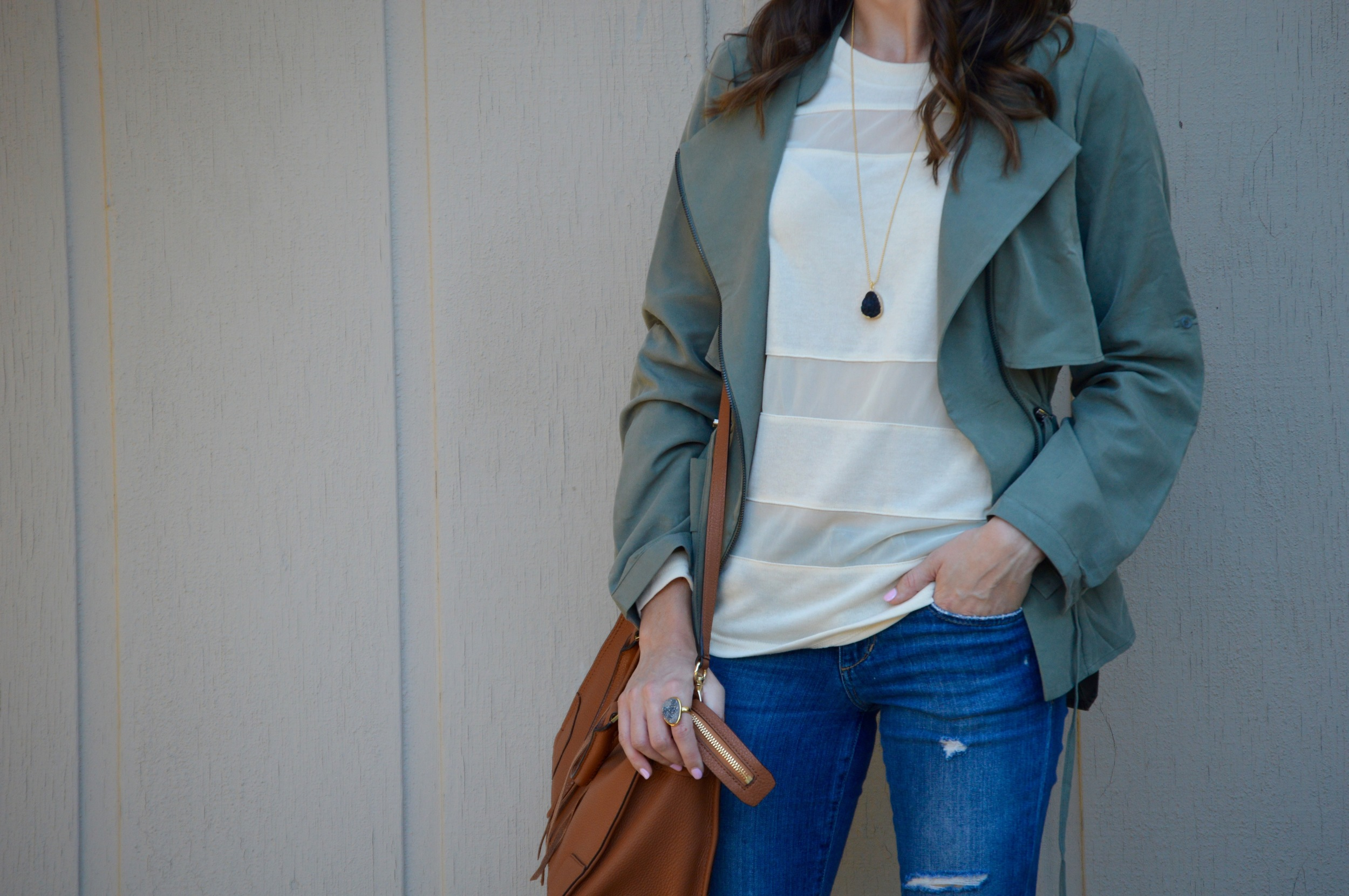 Shop the Look Below. Top: c/o  Pink Blush . Jacket: c/o  Pink Blush . Jeans:  Joe's.  Bag:  Rebecca Minkoff . Necklace: c/o  BaubleBar . Ring: c/o  BaubleBar.  Boots:  Cole Haan . Sunglasses:  Ray-Ban.