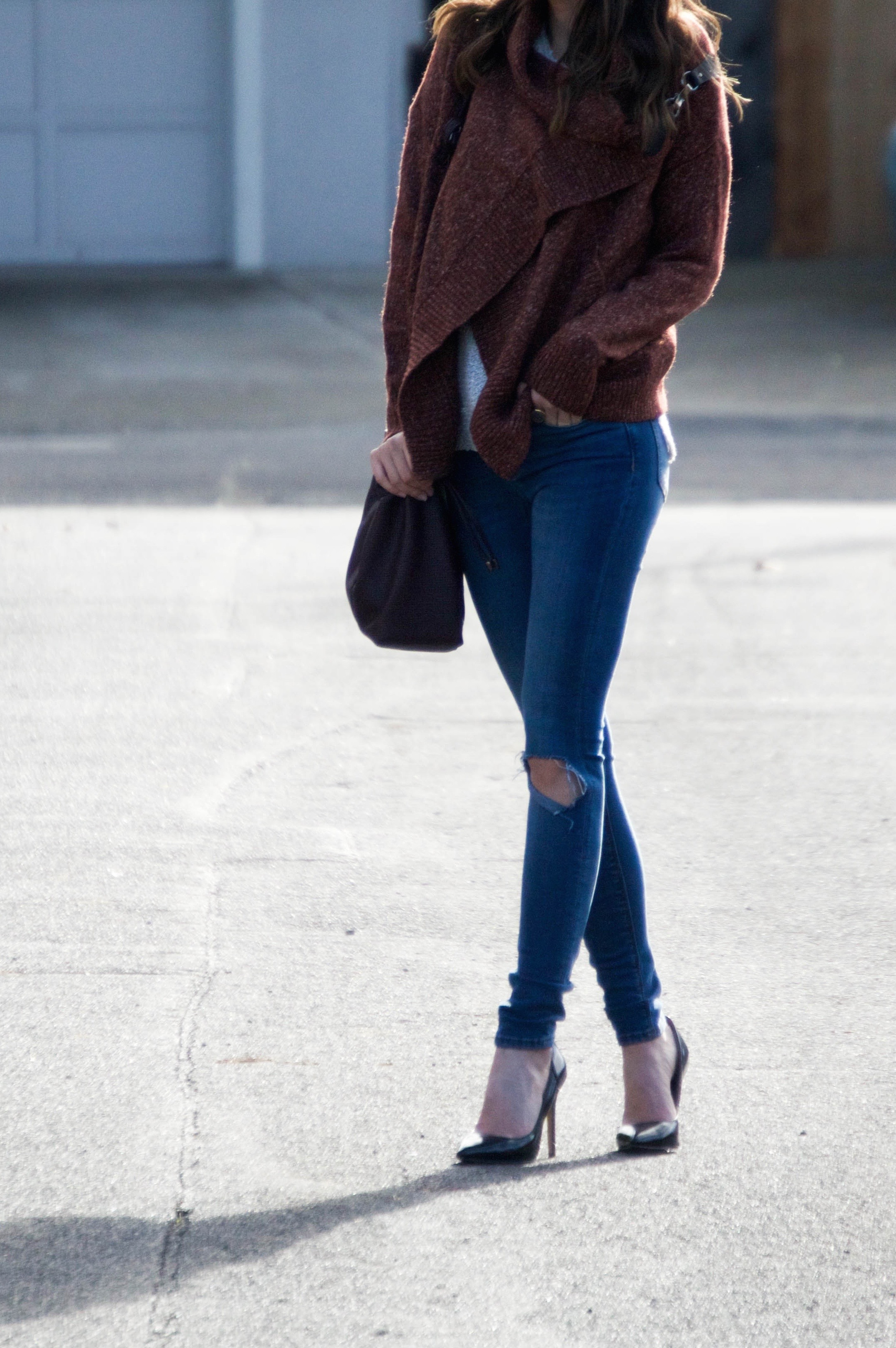Shop the Look Below: Cardigan:  SheIn . Jeans: Old--similar  here  and  here. ) Shoes:  Steve Madden . Bag: c/o  Deux Lux . Sunglasses:  Ray-Ban . Ring: c/o  BaubleBar