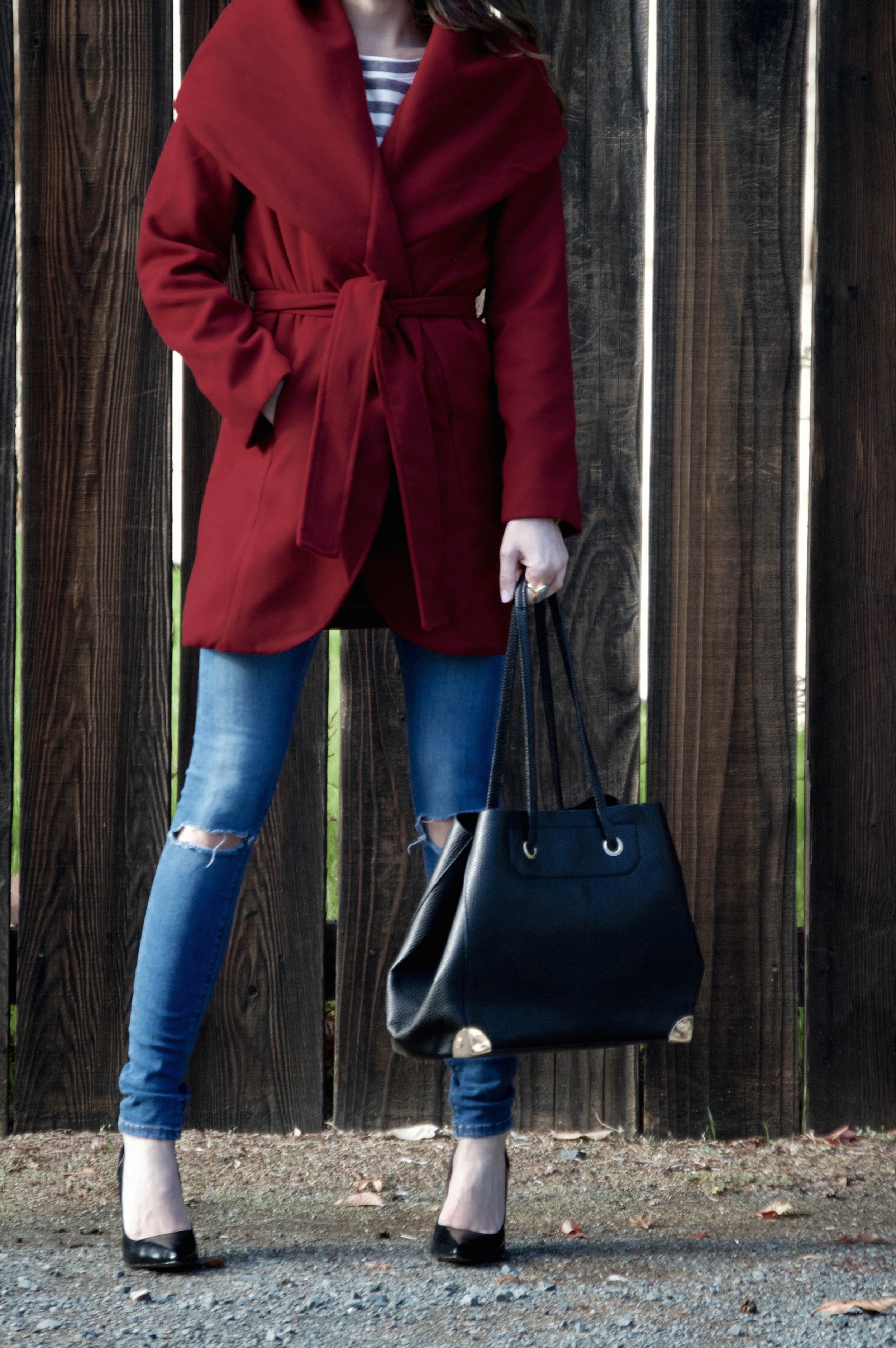 Click through to Shop the Look.Top: c/o  Chicwish . Coat: c/o  SheIn . Jeans: Old. See similar  here . Shoes: Steve Madden . Bag: c/o  Lookbook Store . Sunglasses: Ray-Ban .
