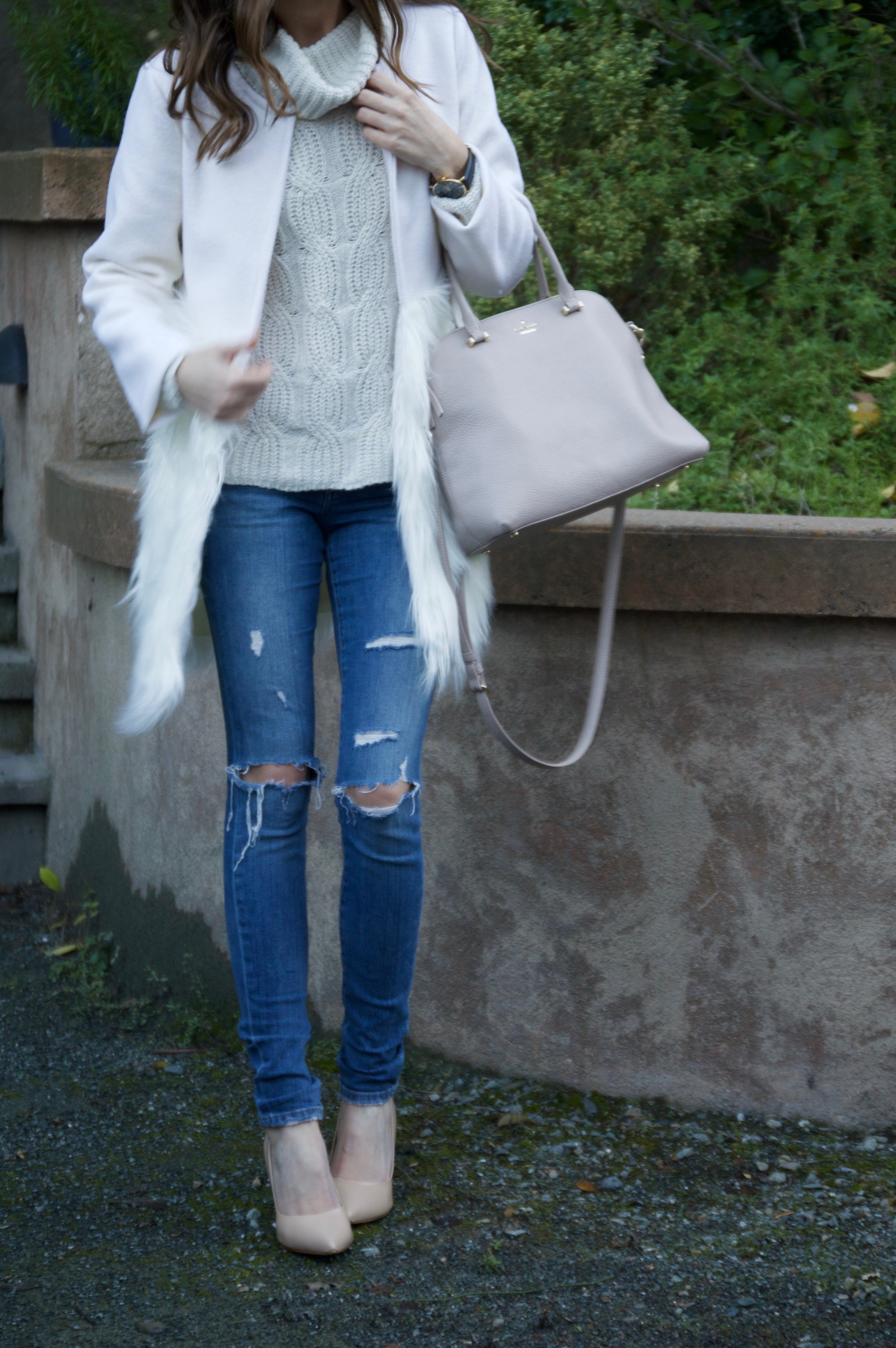 Click Through to Shop the Look. Sweater:  Old Navy . Coat: c/o  Chicwish . Bag:  Kate Spade . Jeans:  Joe's . Shoes: S teve Madden . Watch: Marc Bale c/o  The Peach Box