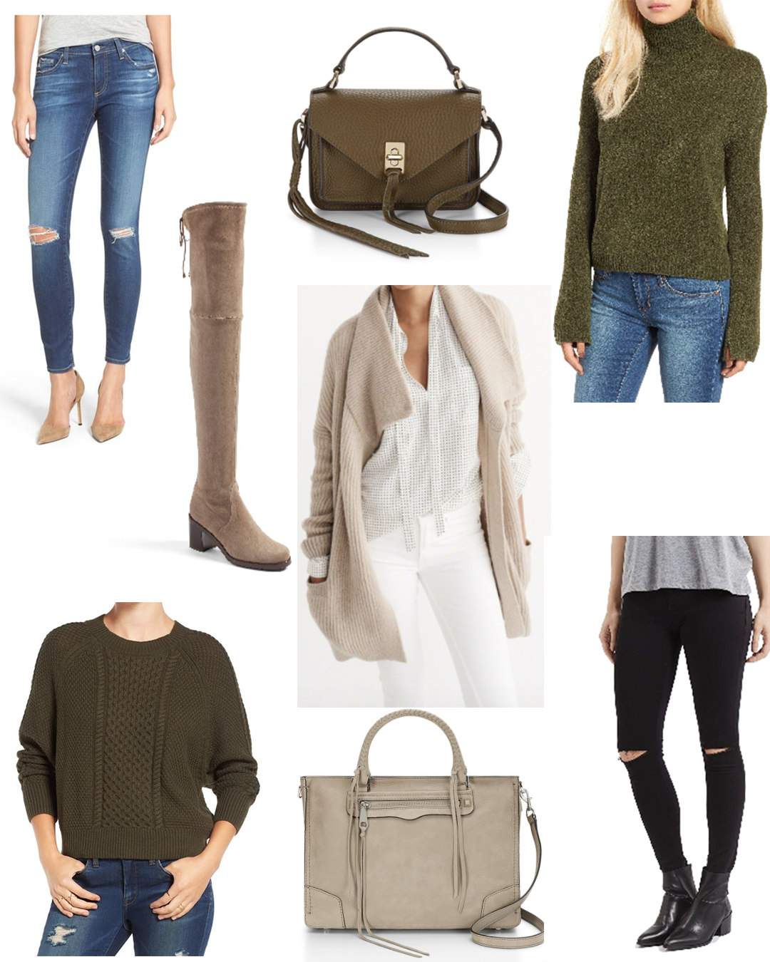 From Top to Bottom:  Jeans .  OTK Boots .  Olive Bag .  Cardigan .  Olive Turtleneck .  Olive Sweater .  Grey Bag .  Black Jeans —I have these and they're amazing for only $40! Size up!