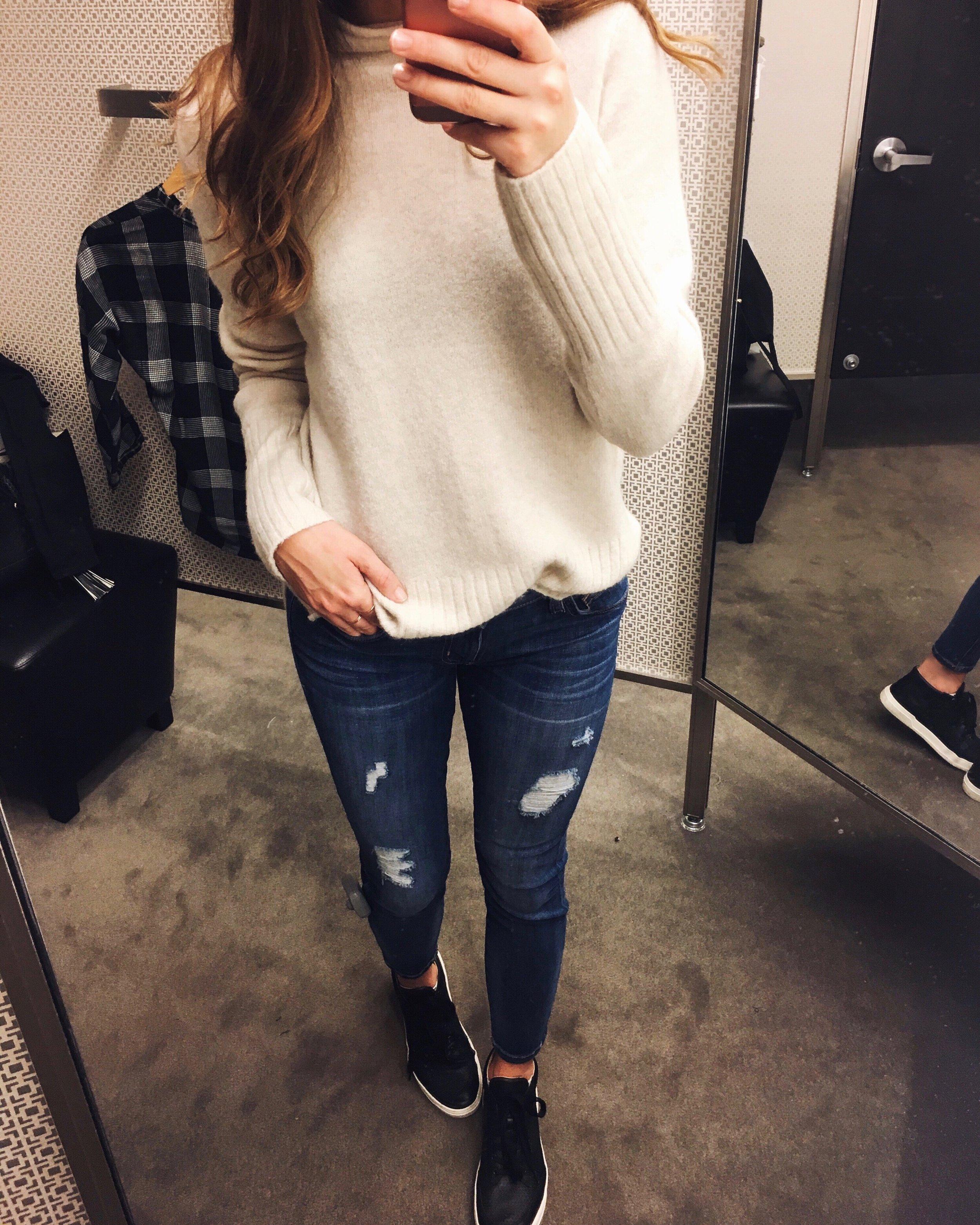 Black Friday Sale Items: Sweater:  Madewell . Jeans:  Current/Elliott
