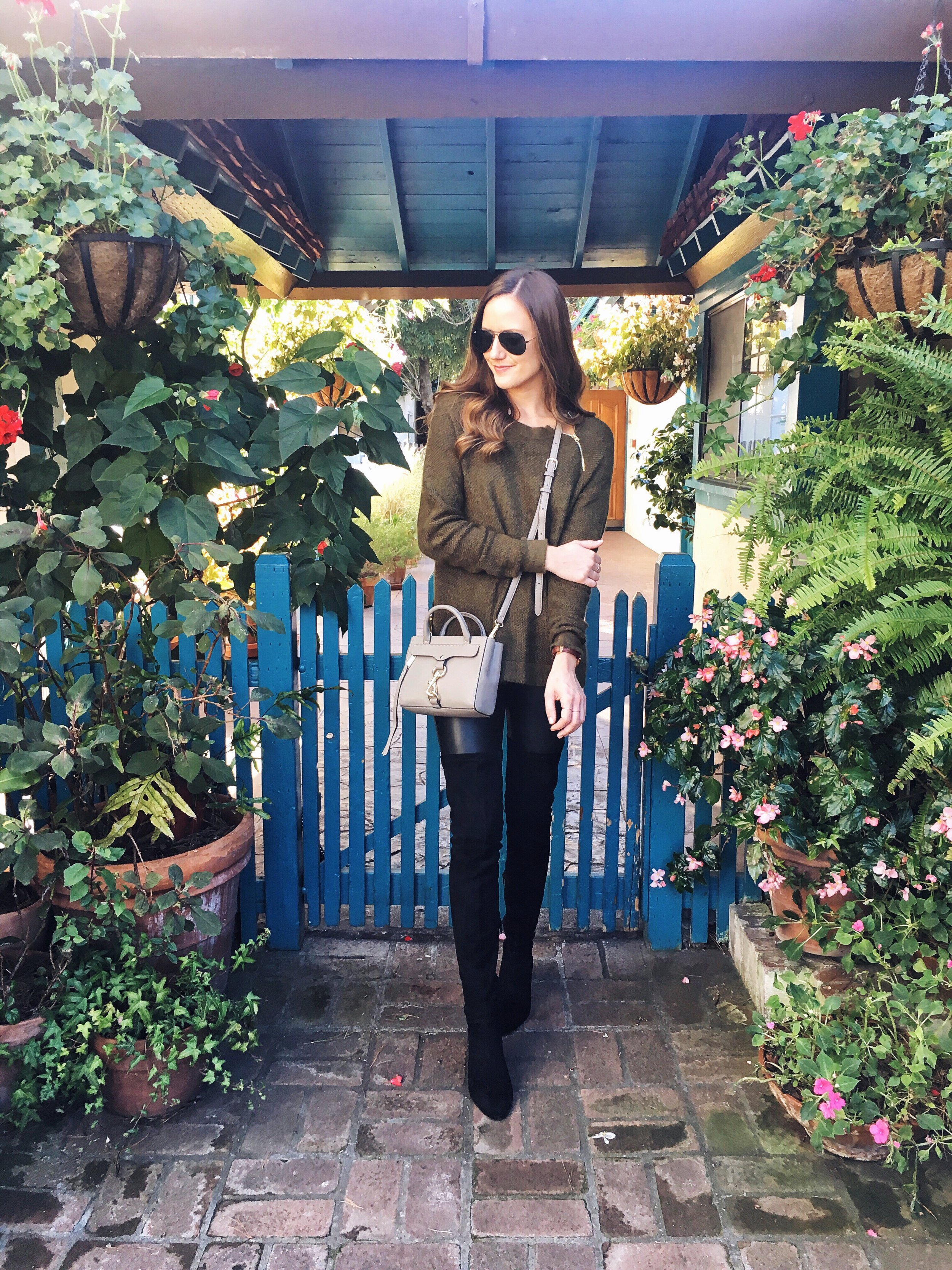 Shop the Look Below. Sweater:  Abercrombie . Leggings:  Nordstrom . Boots:  Steve Madden . Bag:  Rebecca Minkoff . Sunglasses: Ray-Ban via  Ditto c/o—get a month free with code GIRLMEETSGOLD.