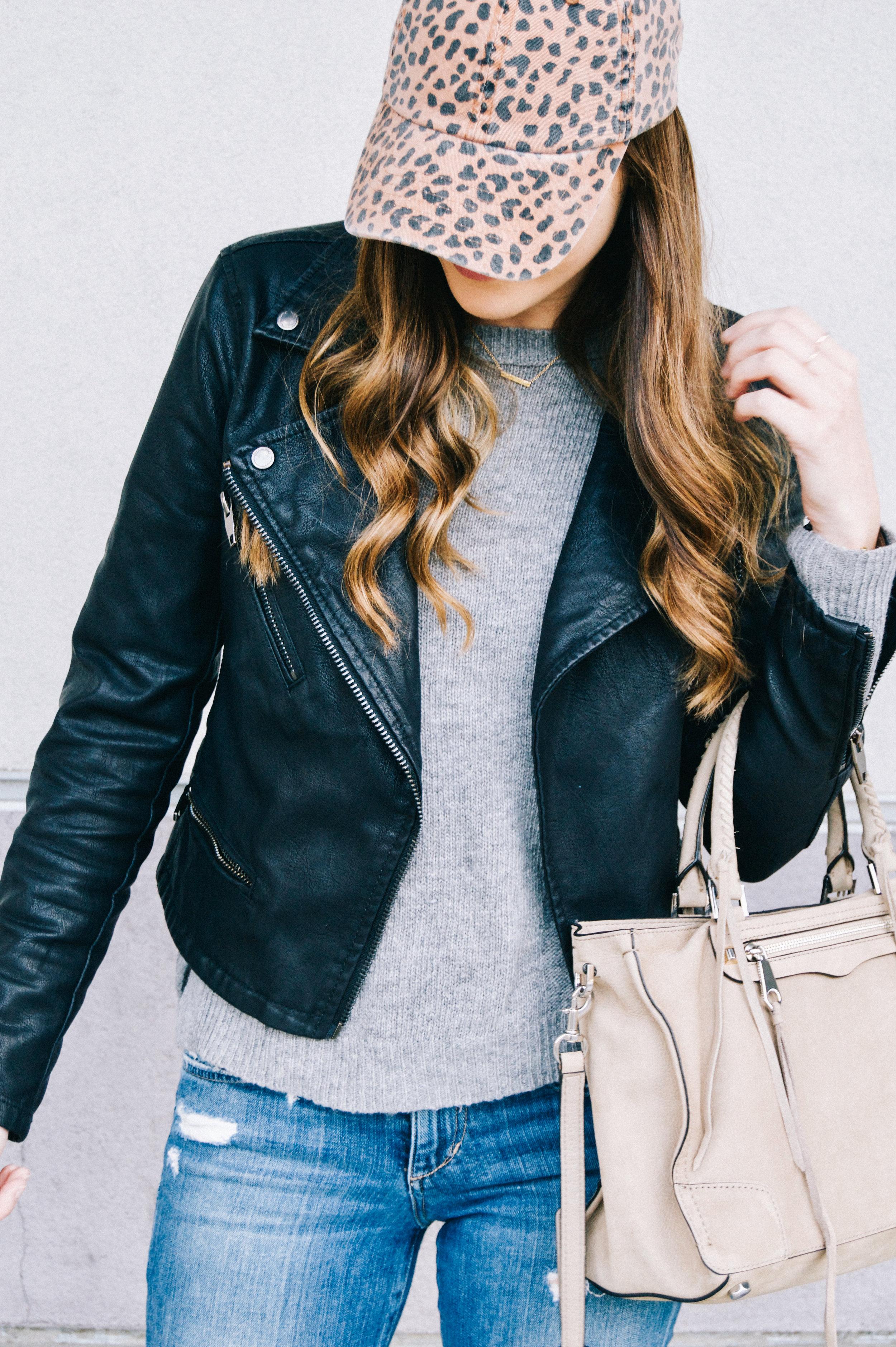 Shop the Look Below.  Stitch Fix sweater |  Joe's Jeans  |  BlankNYC Jacket  |  Rebecca Minkoff Bag |  Nike Sneakers  |  Urban Outfitters Hat  |  Gorjana necklace  c/o