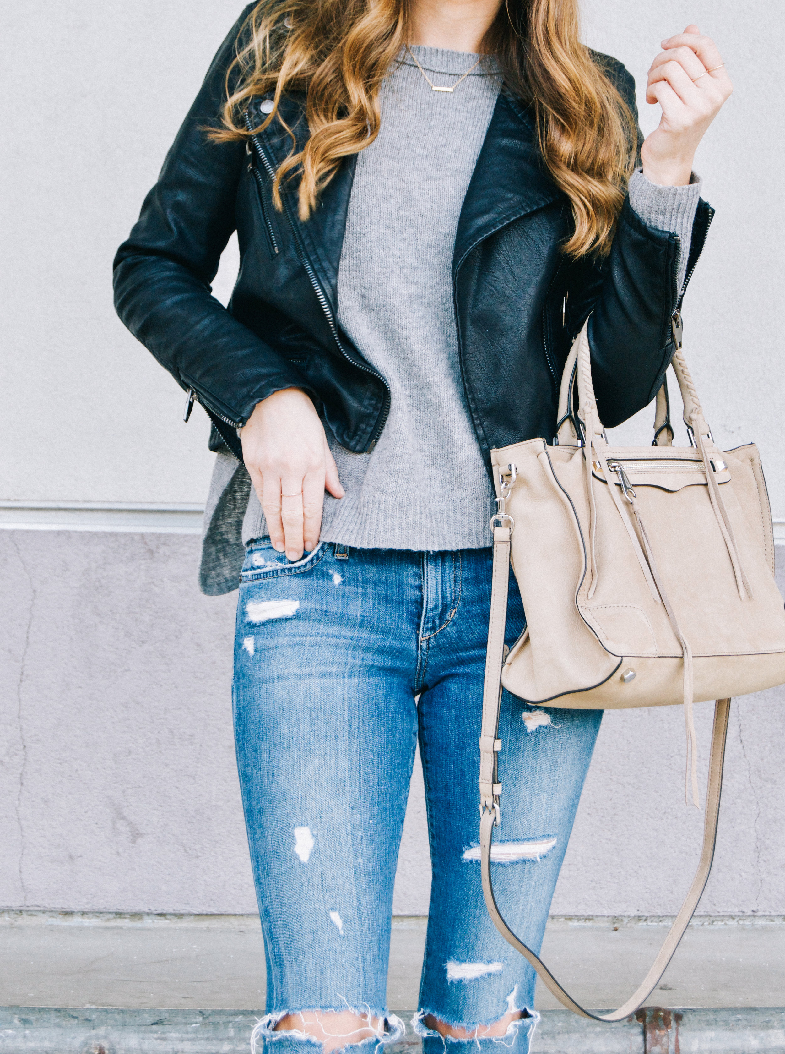 Casual Faux Leather Moto Jacket Outfit