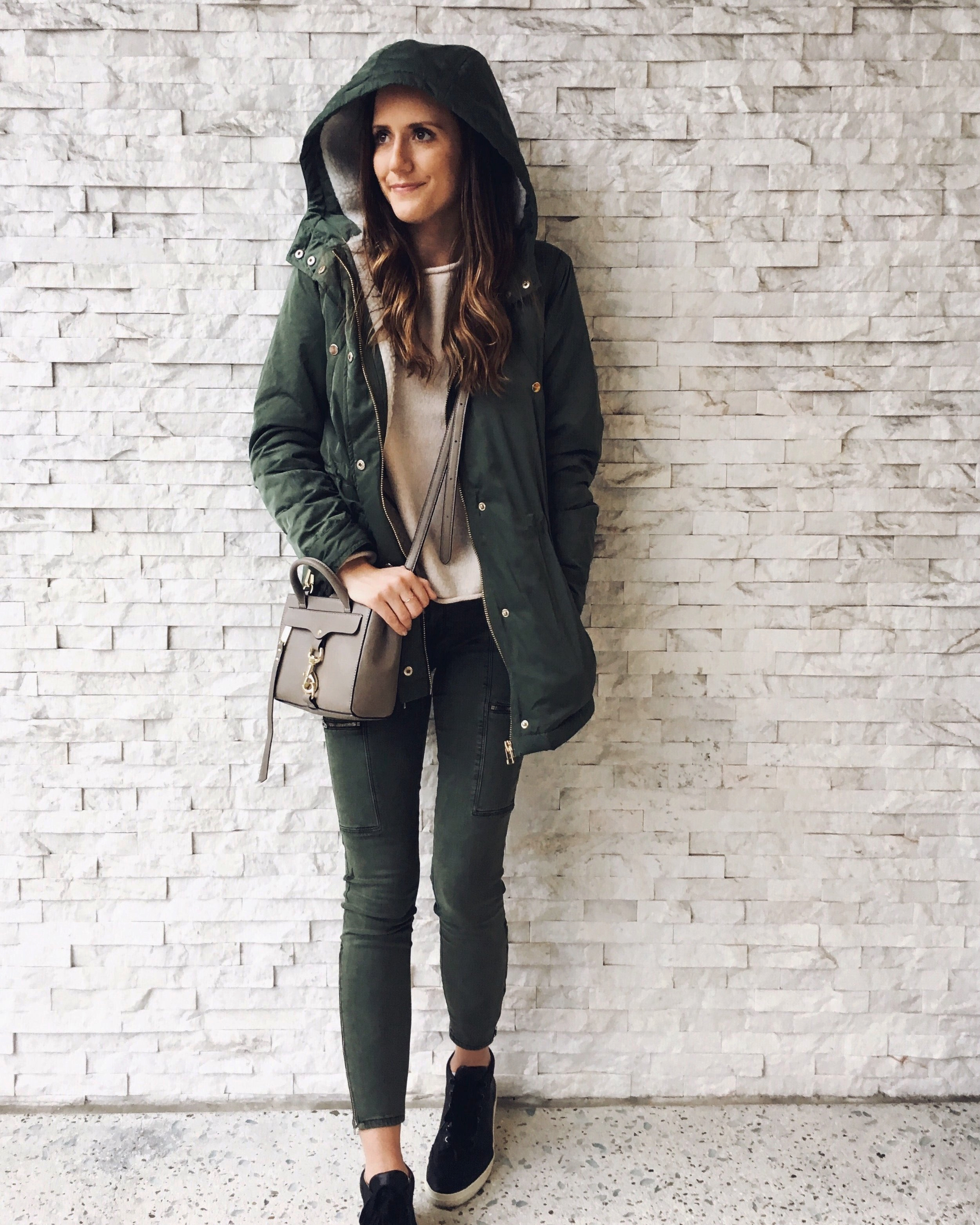 Rainy Day Style Outfit Olive Parka