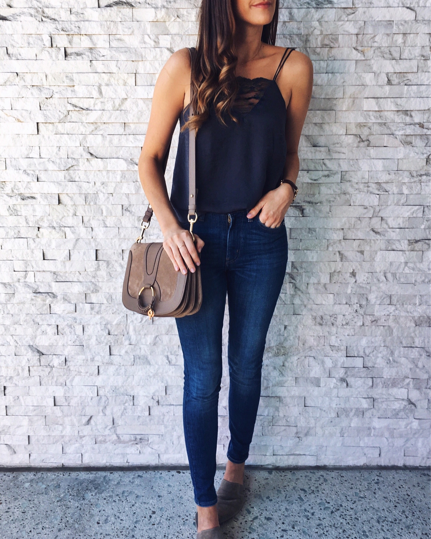 H&M Top  |  Levi's Jeans  |  Vince Slides  |  See by Chloe Bag