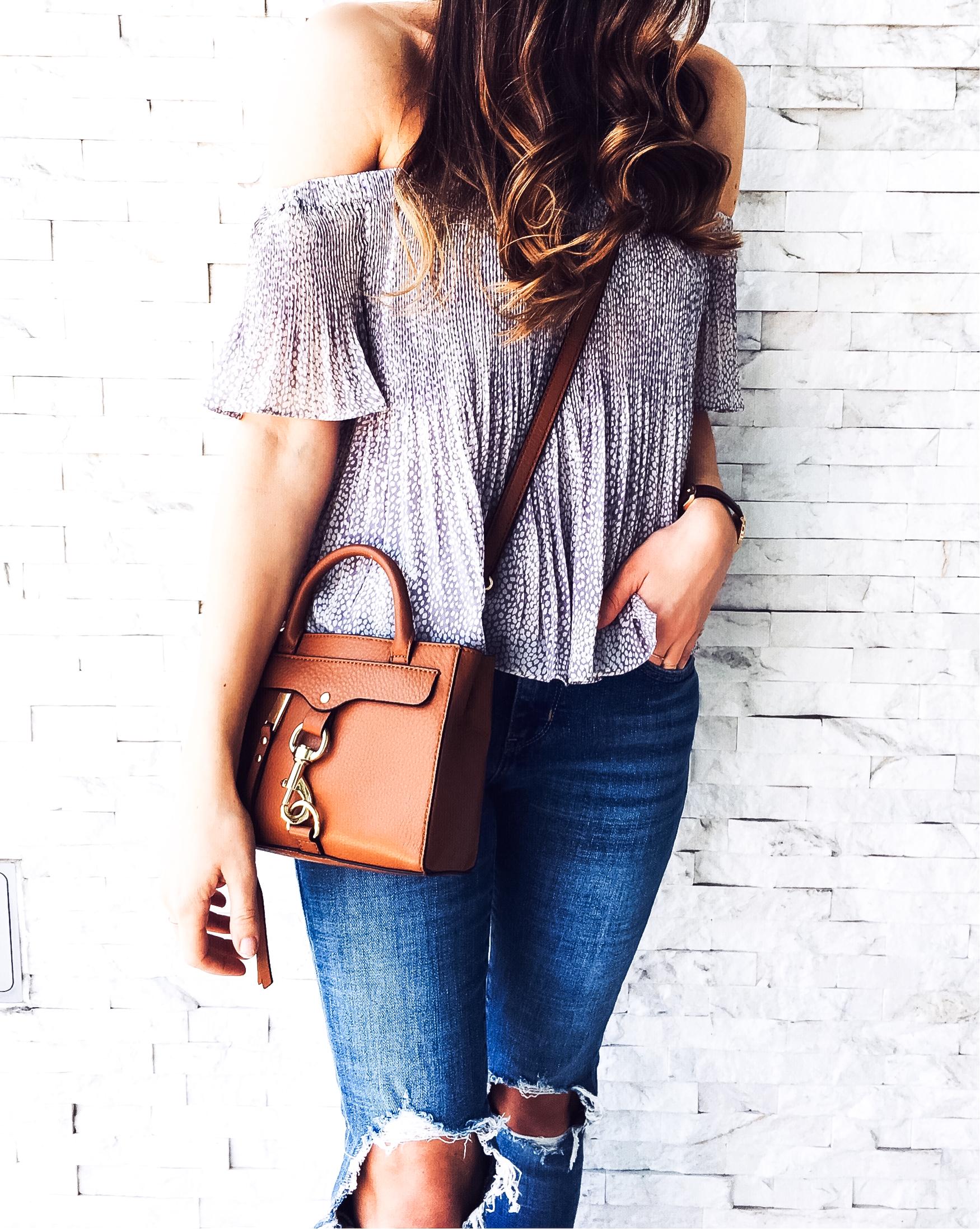 Shop the Look Below.  Nordstrom Top  |  Levi's Jeans  |  Vince Slides  |  Rebecca Minkoff Bag  |  Gorjana Rings  c/o