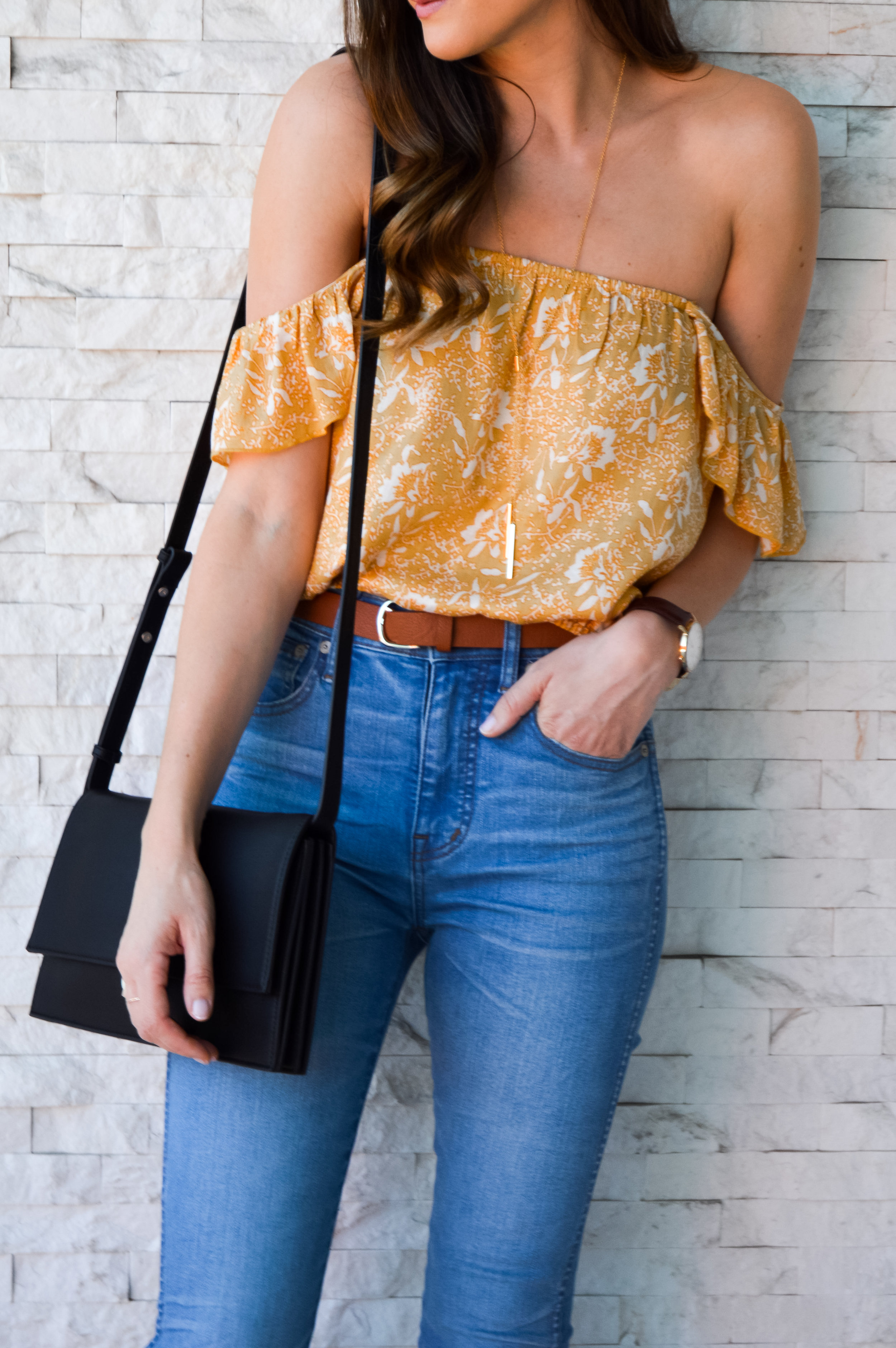 Boho print yellow off the shoulder top