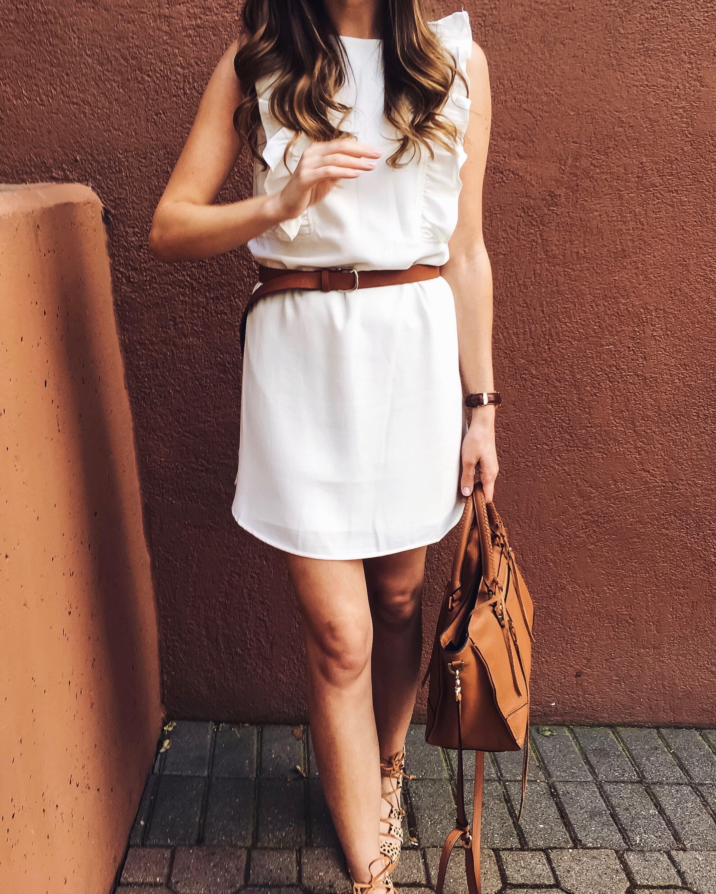 Shop the Look Below.  Nordstrom Dress  |  Dolce Vita Sandals  |  Rebecca Minkoff Bag  |  Nordstrom Belt  |  Ray-Ban Sunglasses
