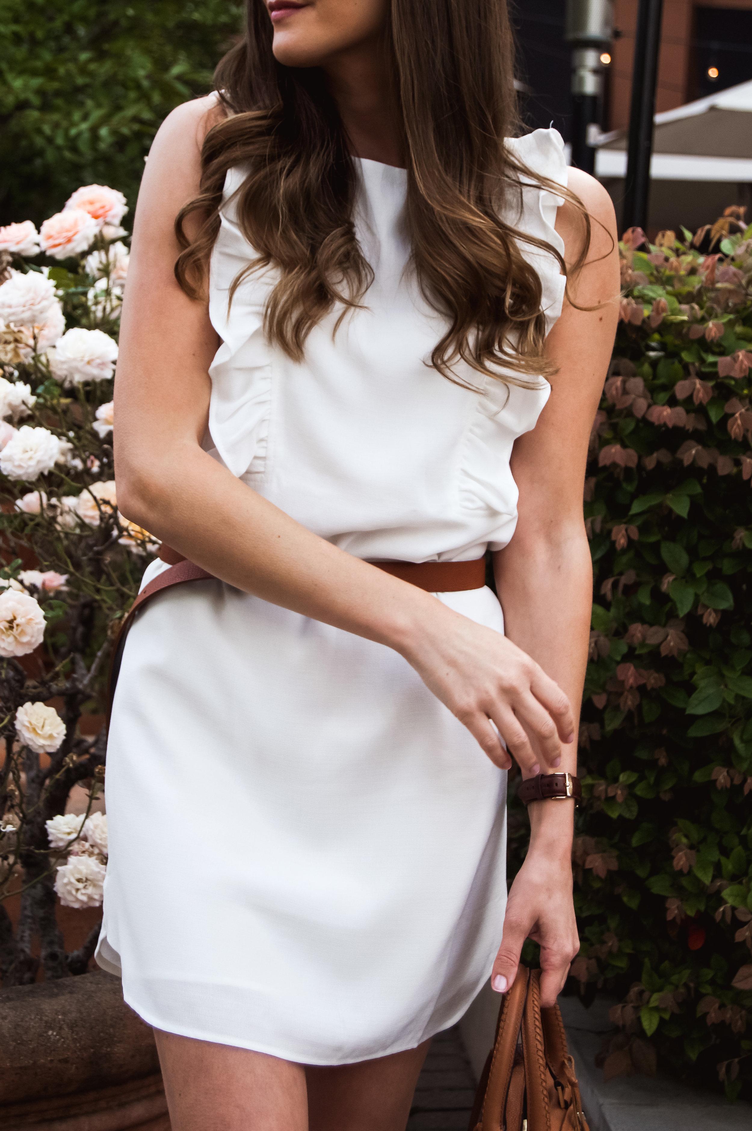 White Ruffle Shift Dress