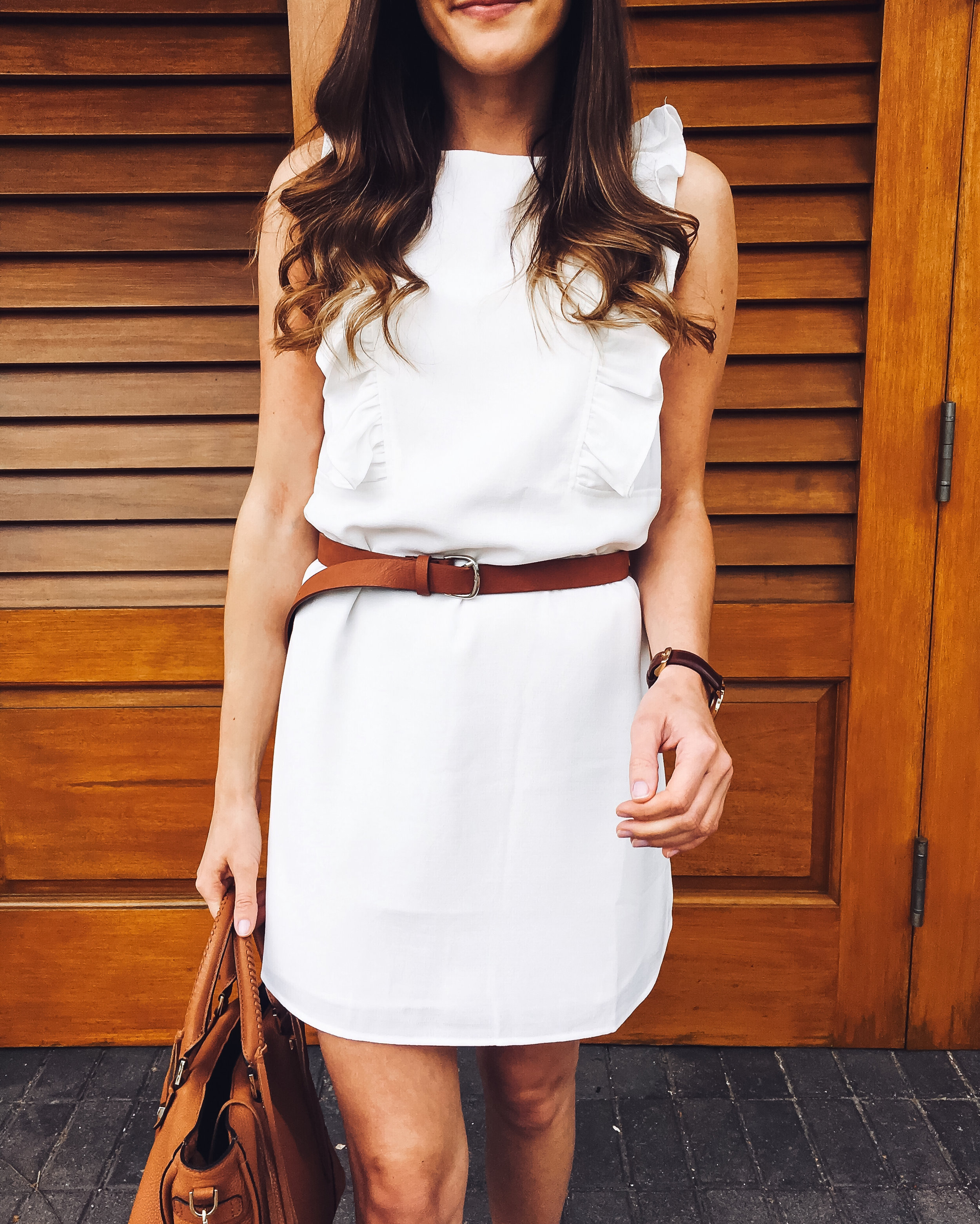 White Shift Dress with brown belt
