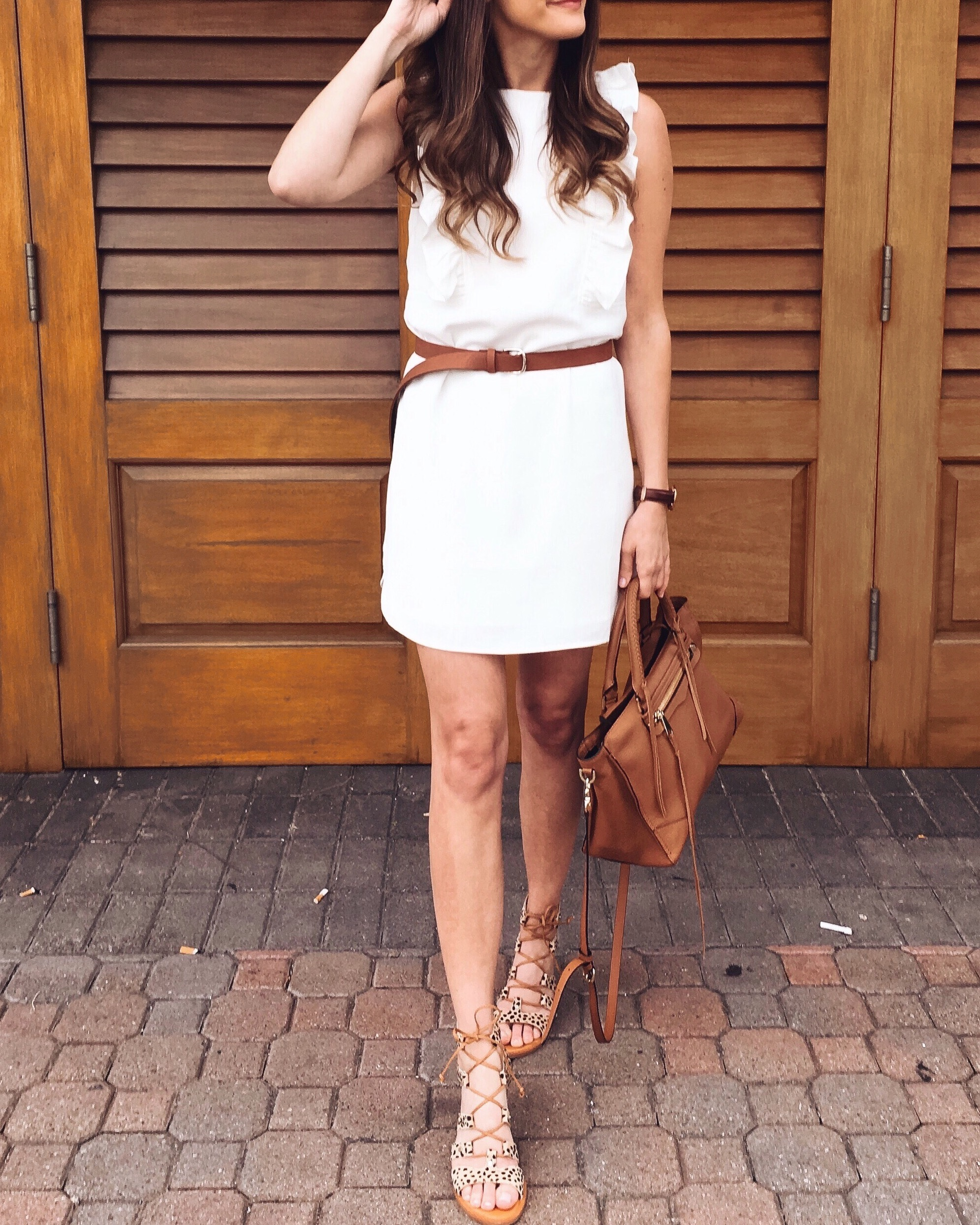 White dress and leopard sandals