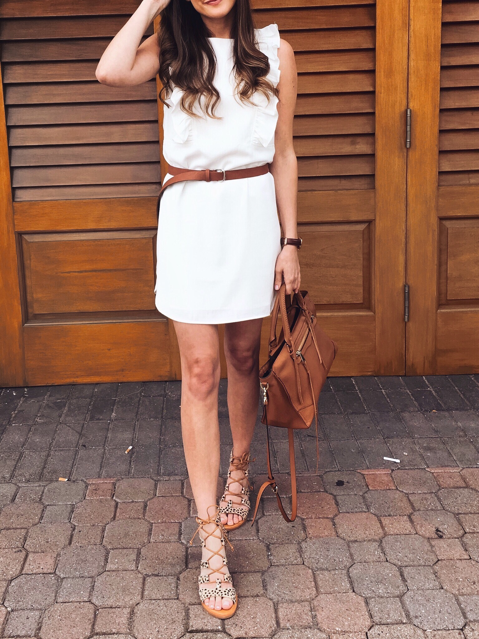 White dress and leopard print sandals