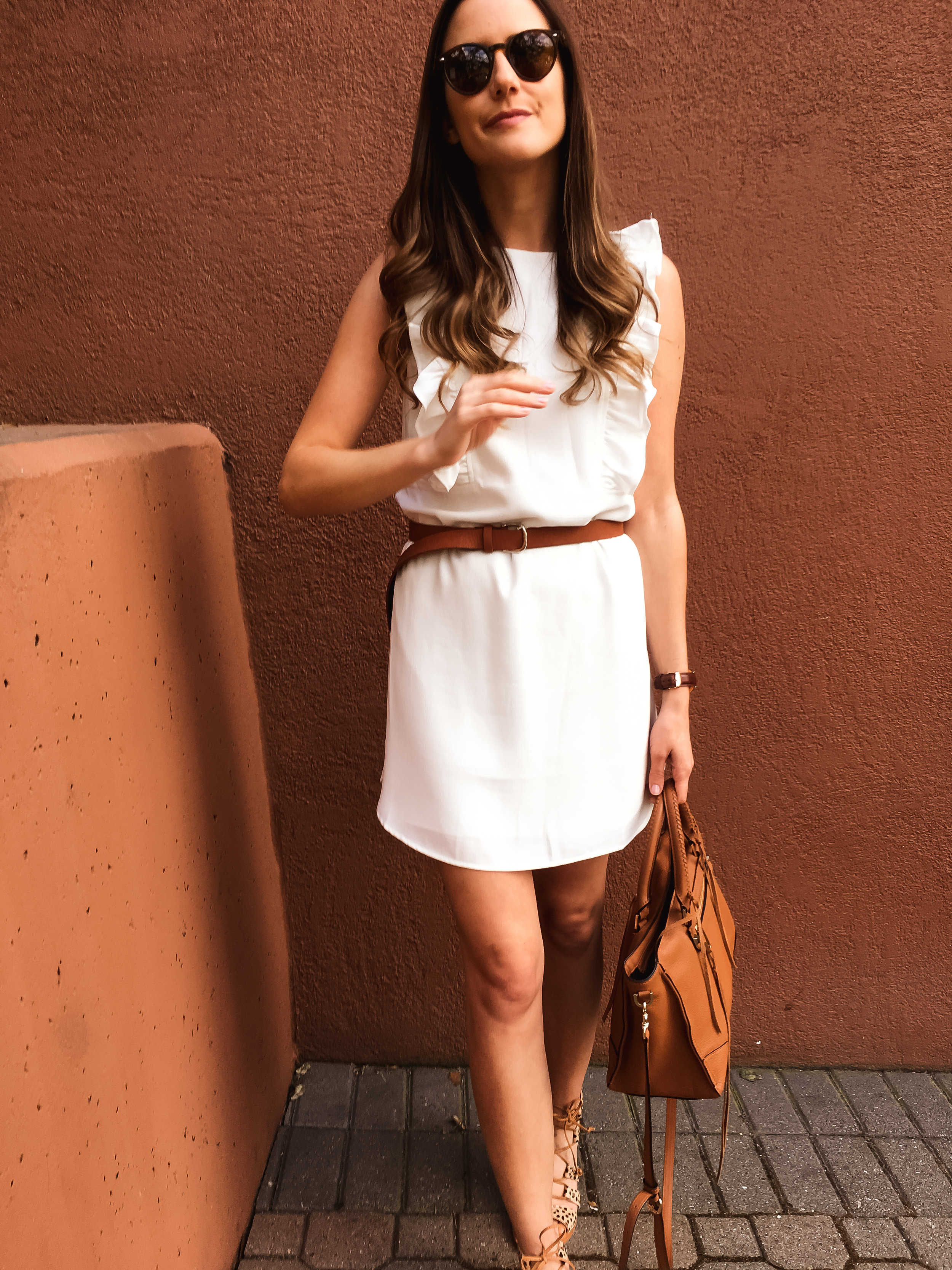 White shift dress outfit