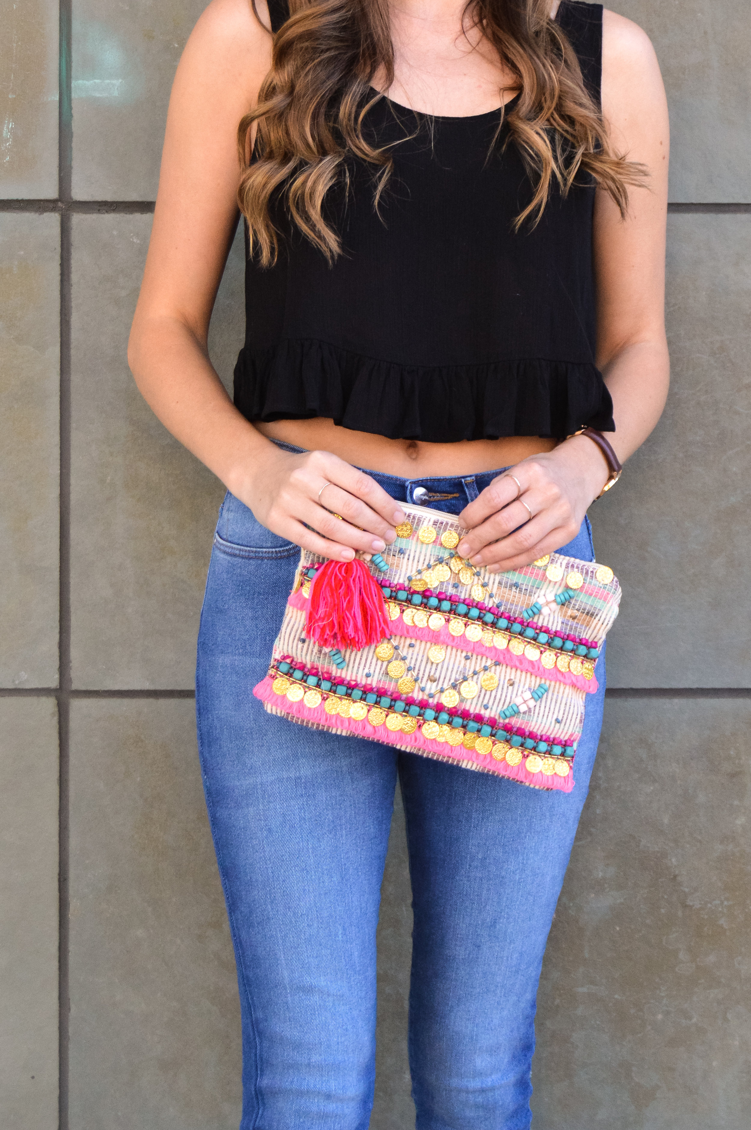 Summer style pop of color clutch