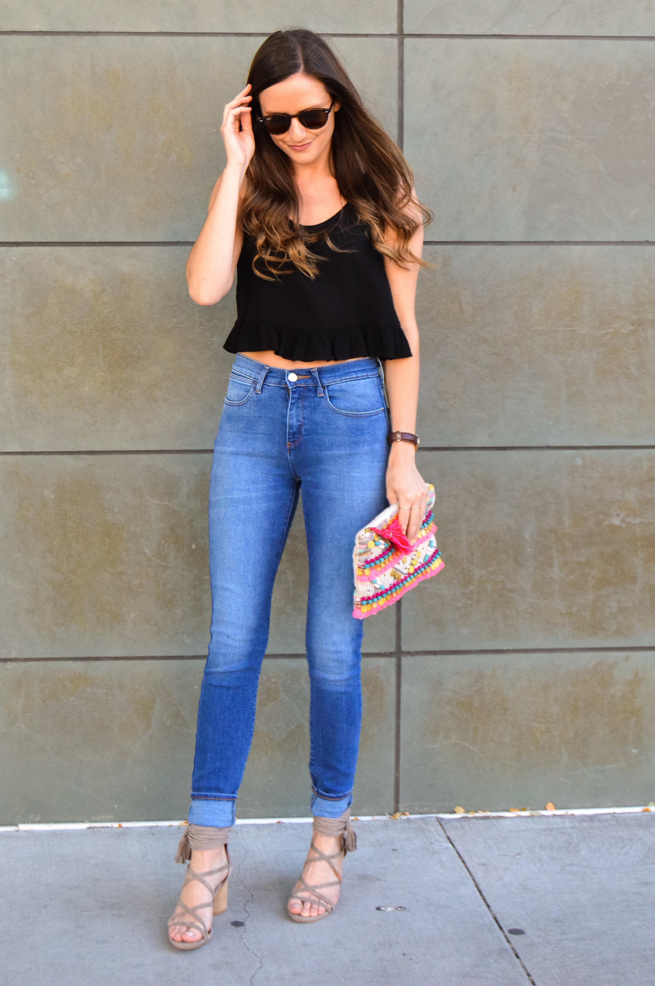 Mid wash high waist skinny jeans