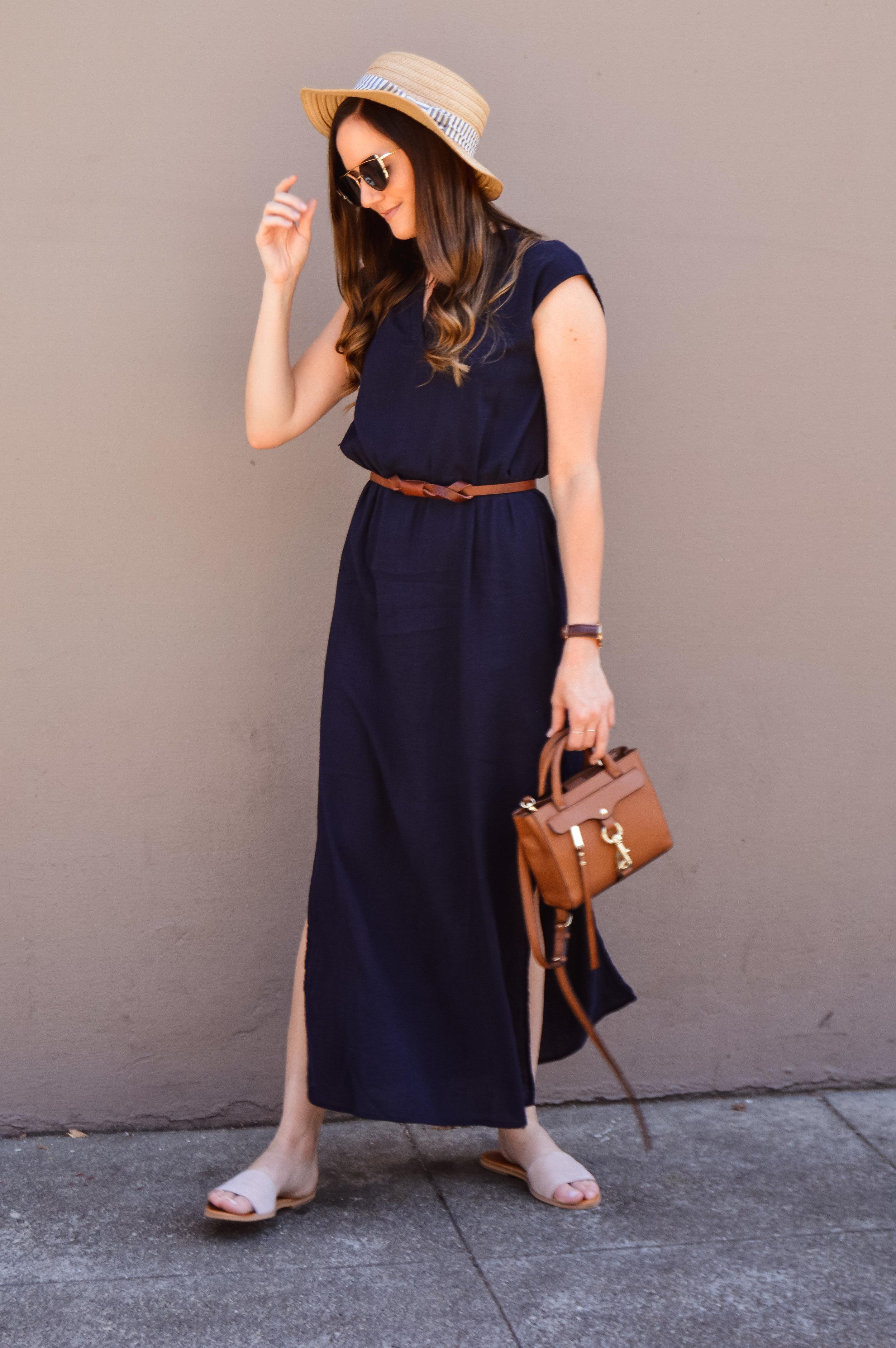 Shop the Look Below.  Amazon Dress  c/o |  Nordstrom Sandals  | Nordstrom Hat—similar  here  |  Rebecca Minkoff Bag  |  Amazon Sunglasses  c/o |  Amazon Necklace  c/o |  Amazon Belt  c/o