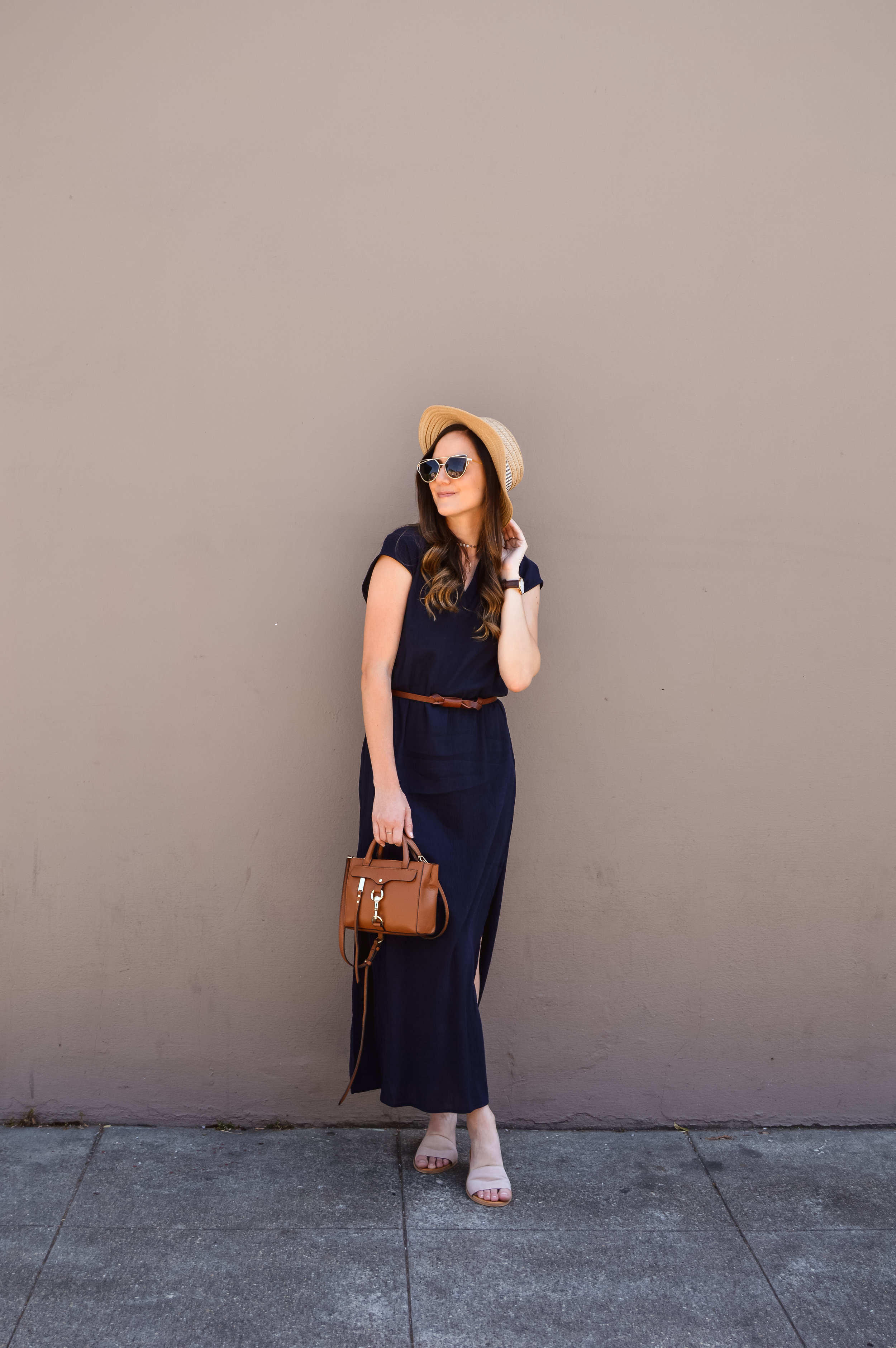 Navy Maxi dress with brown belt