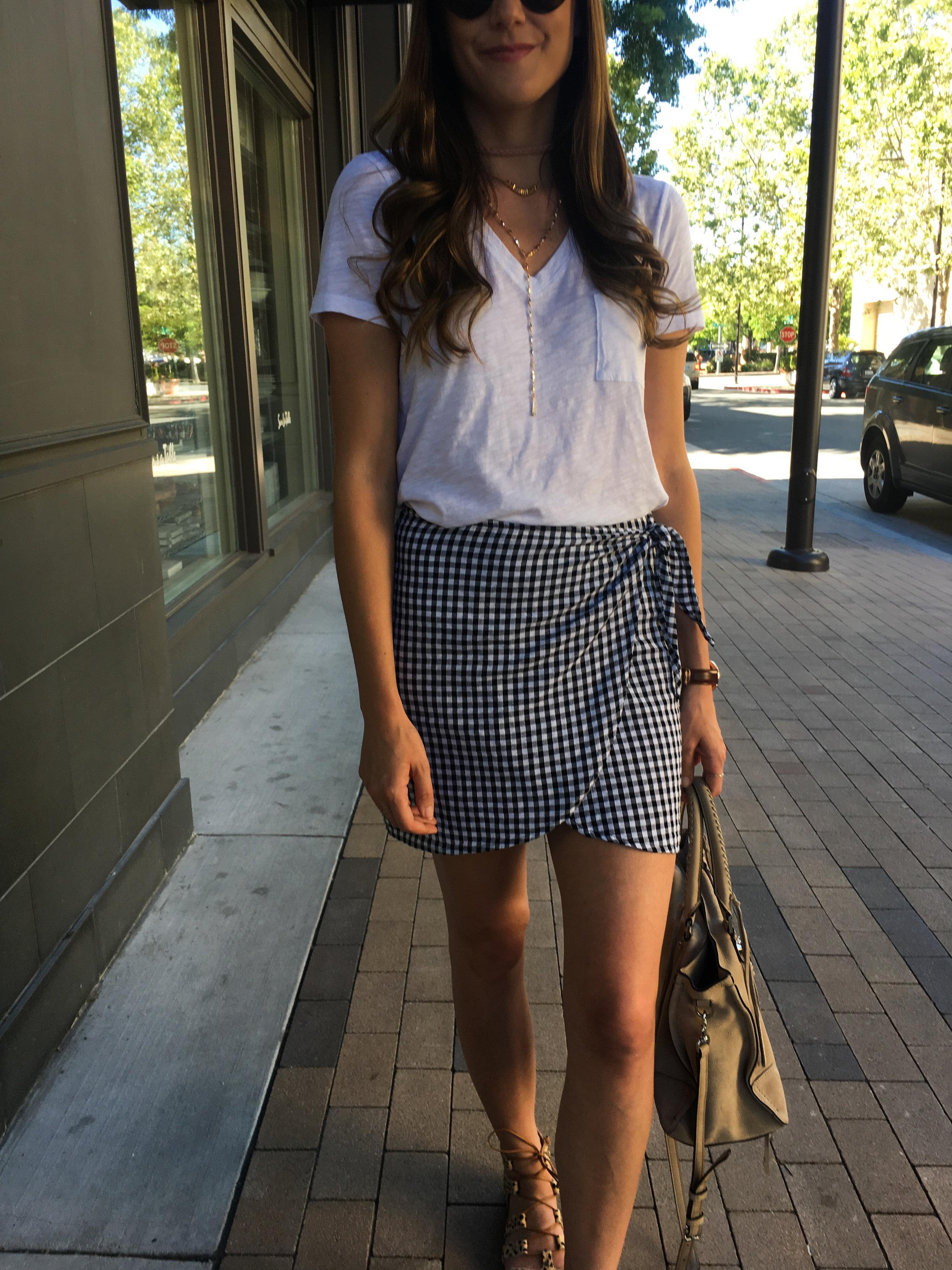 Gingham mini skirt and white tee