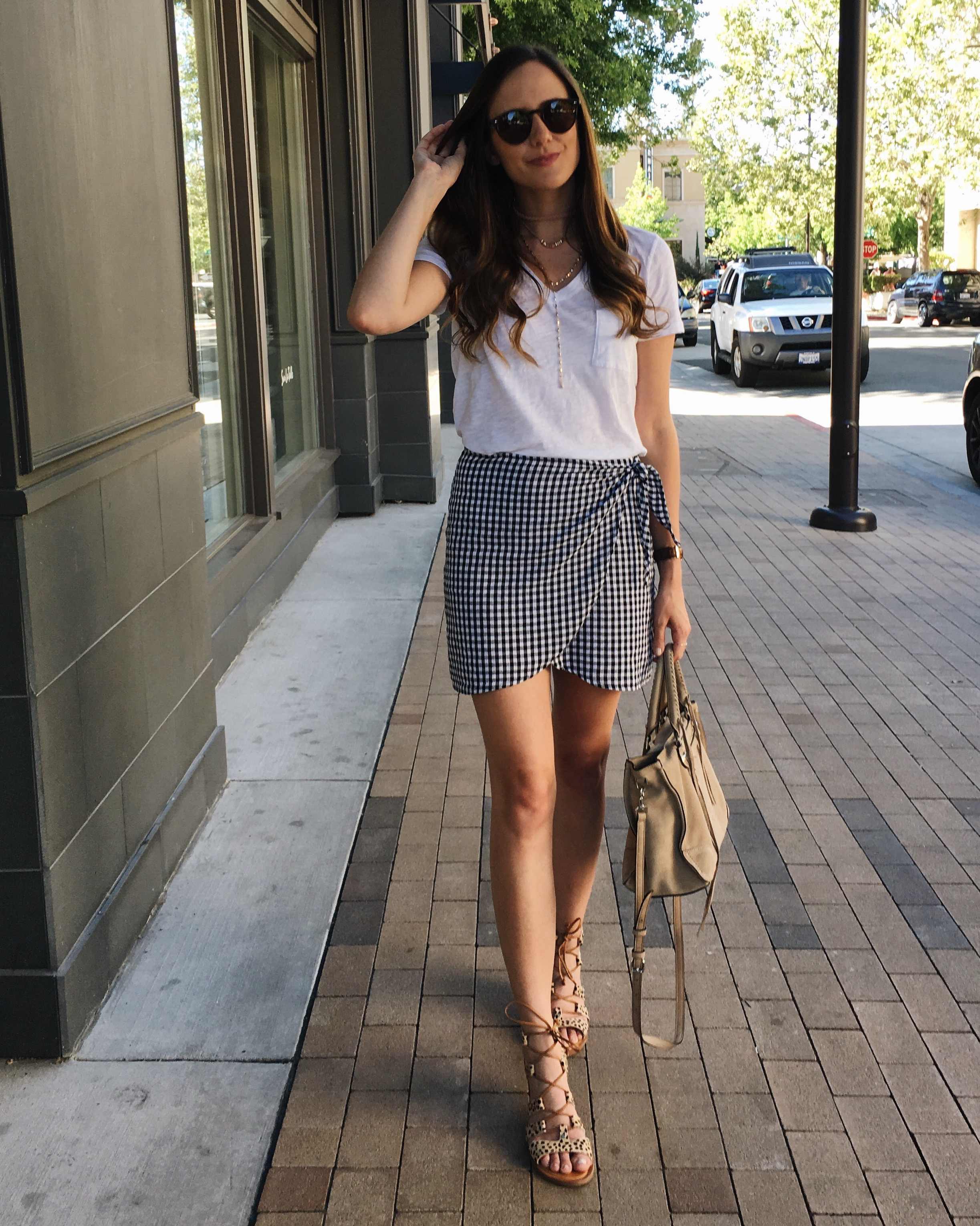 Gingham skirt outfit