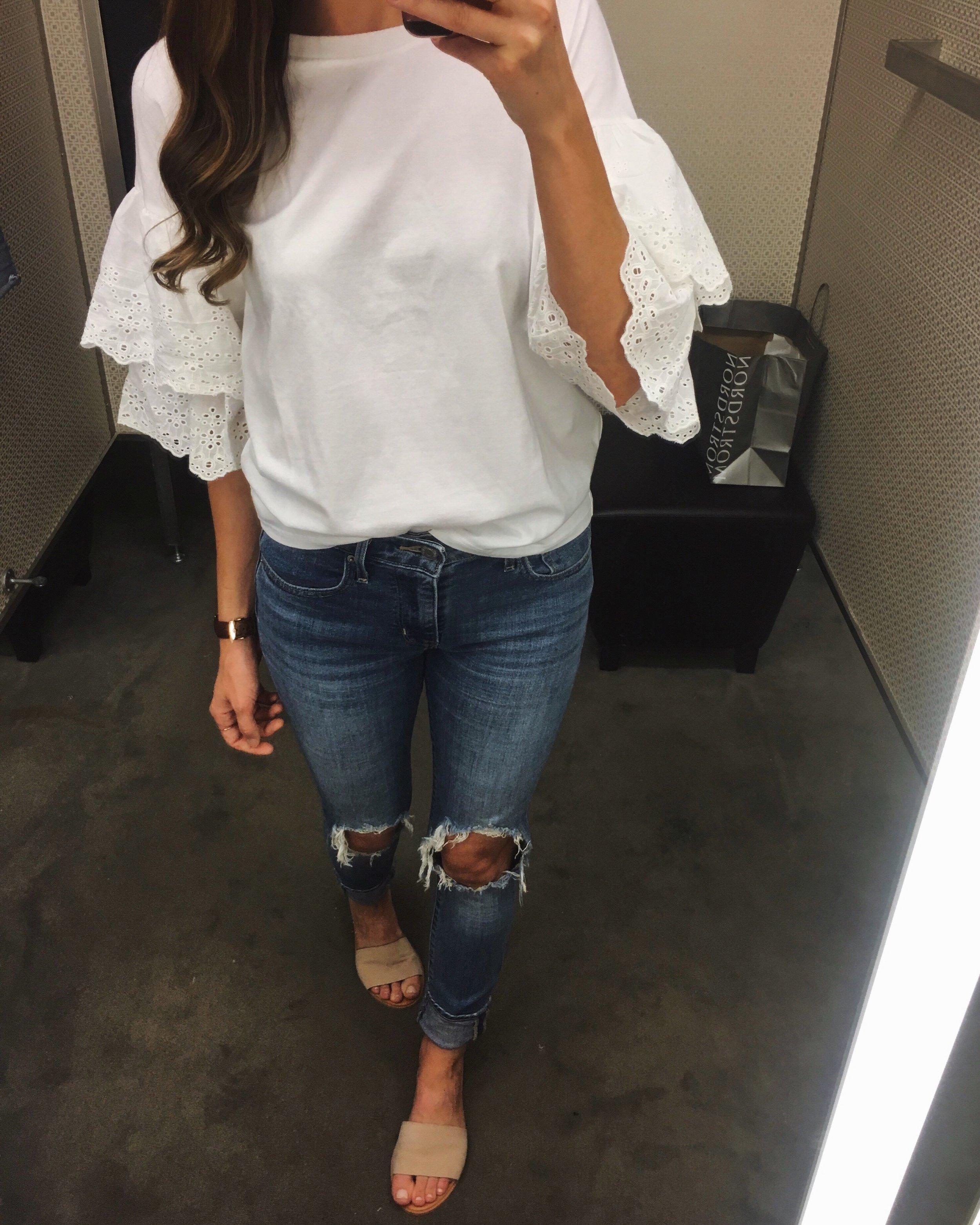 Topshop Tee  |  Levi's Jeans  |  Nordstrom Slides
