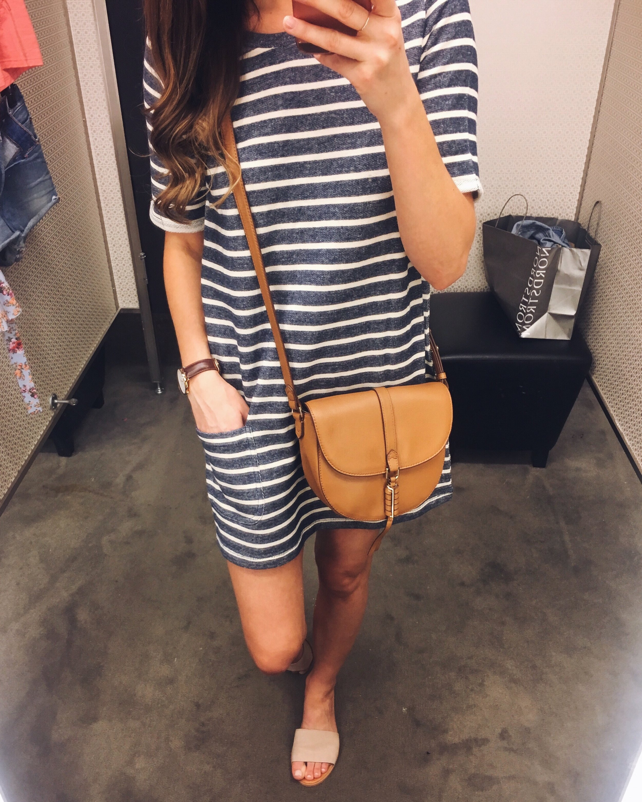 French Connection Dress  |  Nordstrom Slides  |  Stella & Dot Bag  c/o