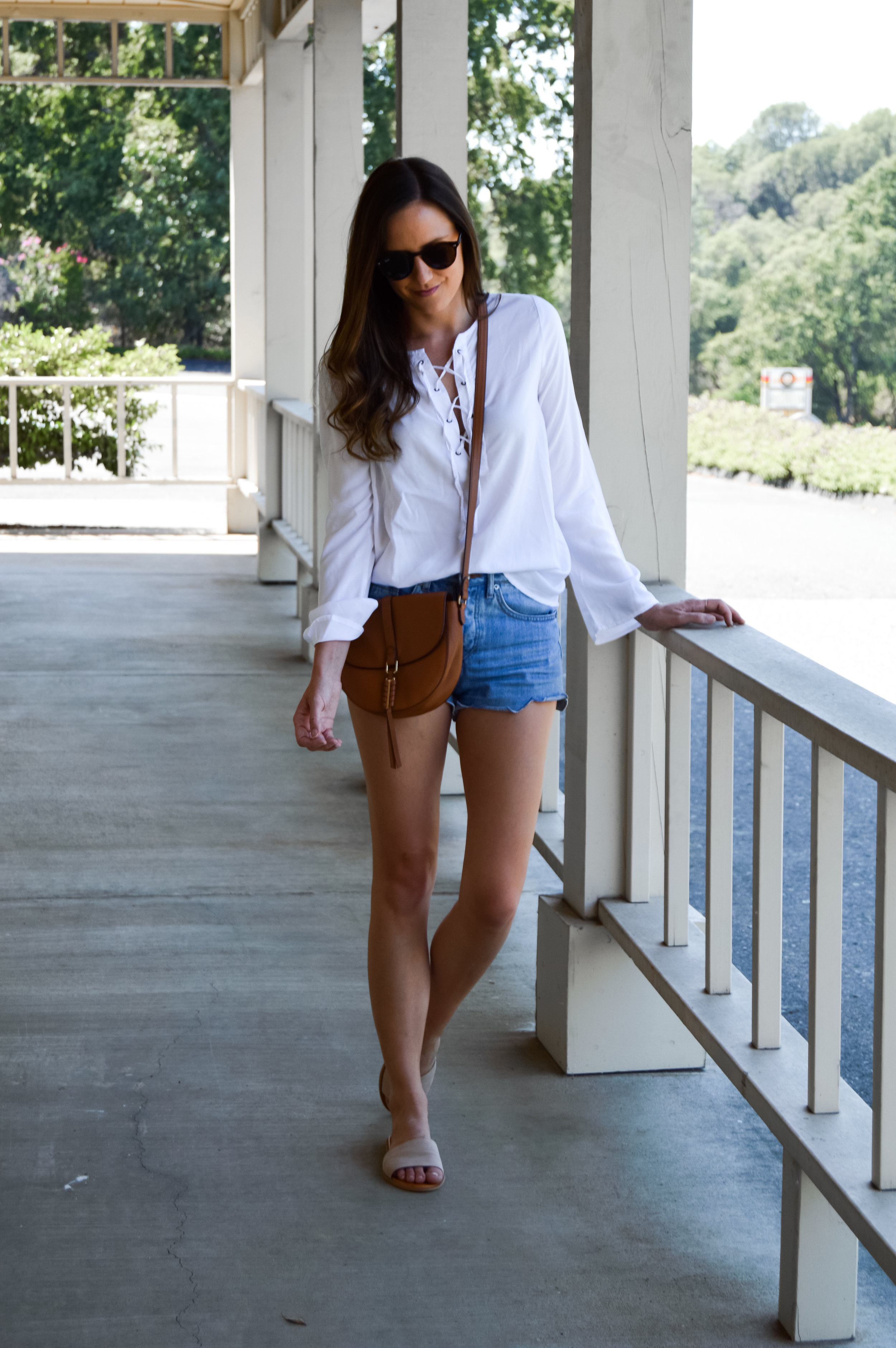 Shop the Look Below.  T.J. Maxx Top  |  H&M Shorts |  Nordstrom Sandals  |  Stella & Dot Bag  c/o |  Ray-Ban Sunglasses
