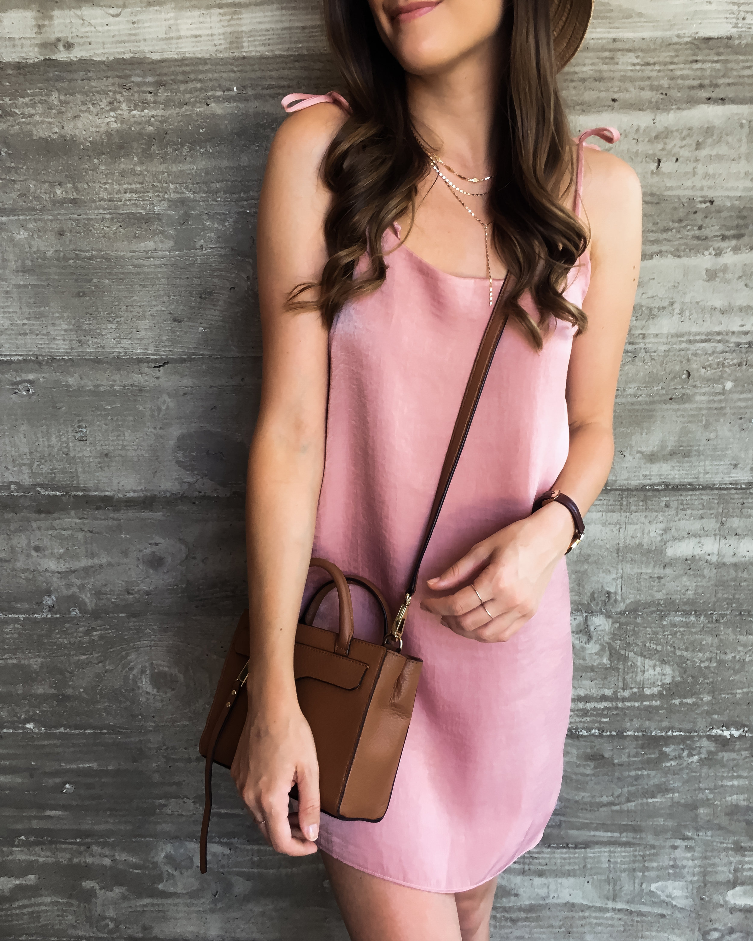 Pink satin slip dress