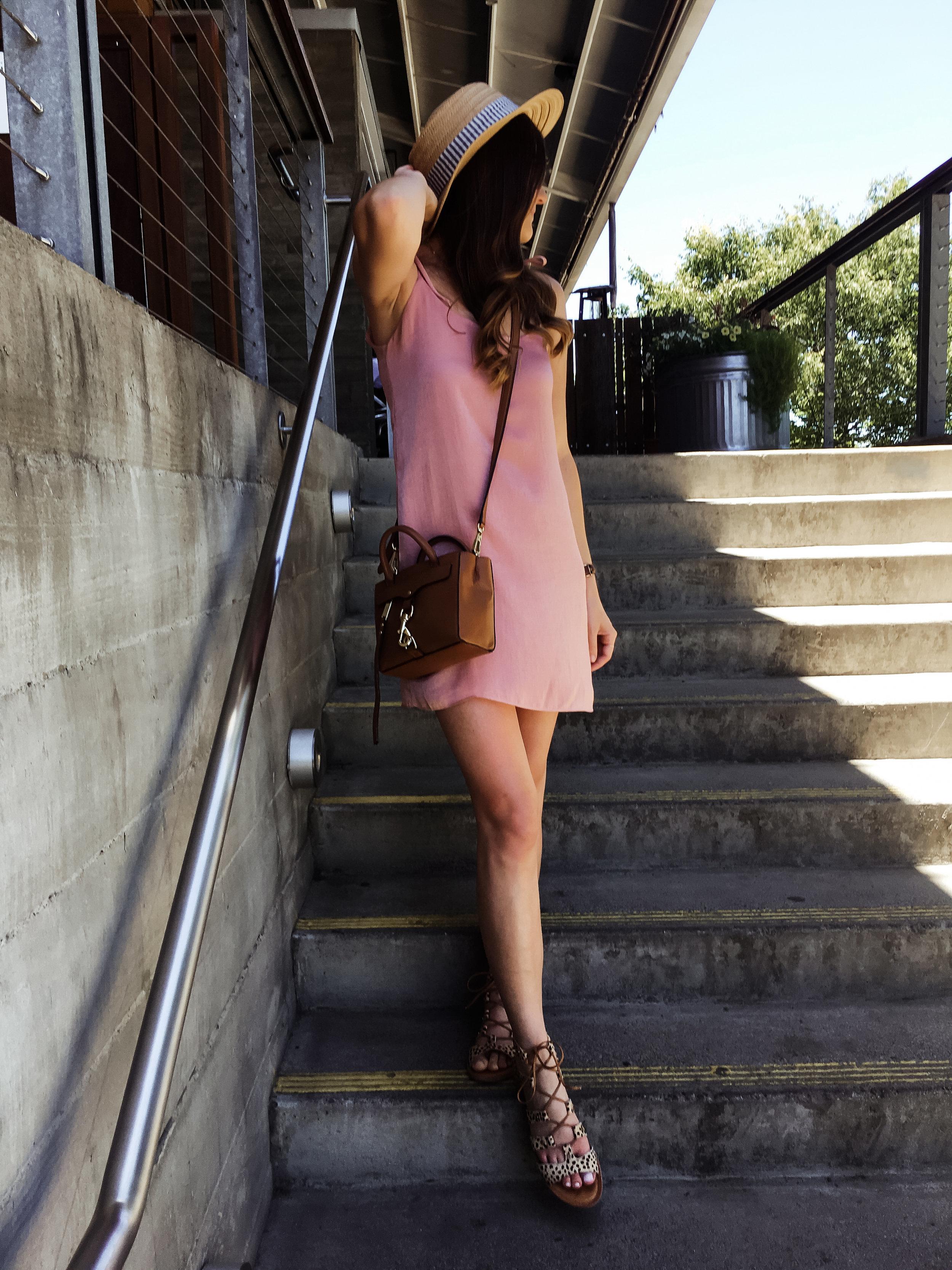 Blush pink satin slipdress