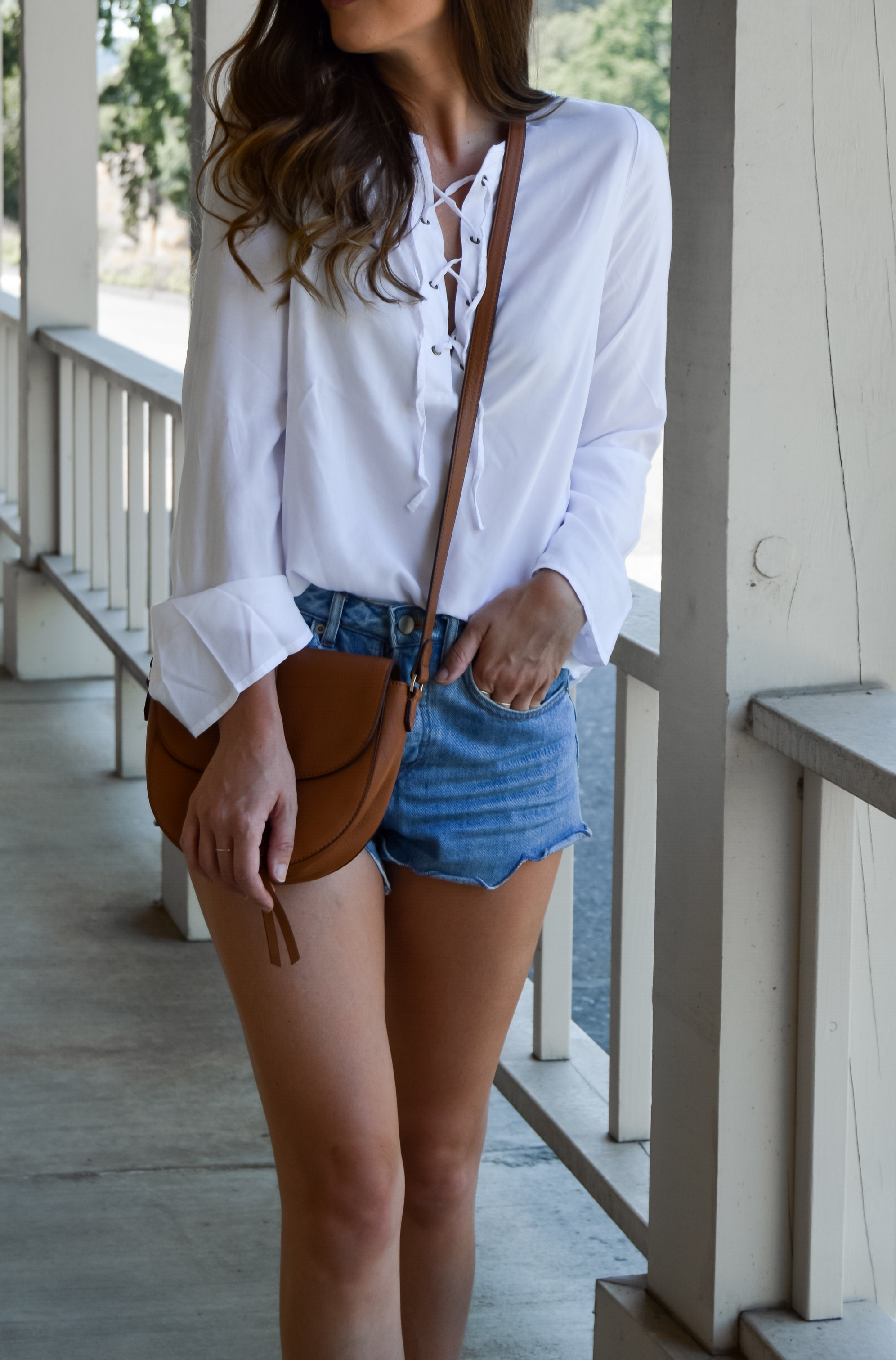 lace up cotton summer top