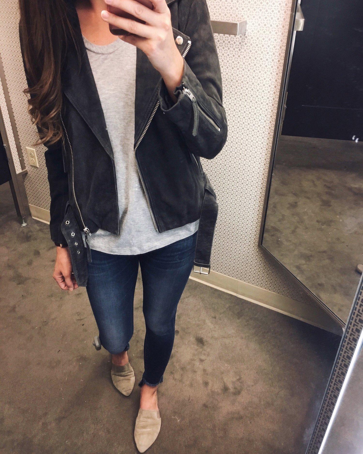 Topshop Moto Jacket  |  Caslon Tee  |  Hudson Jeans