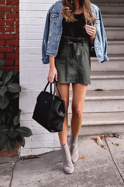 olive skirt and booties