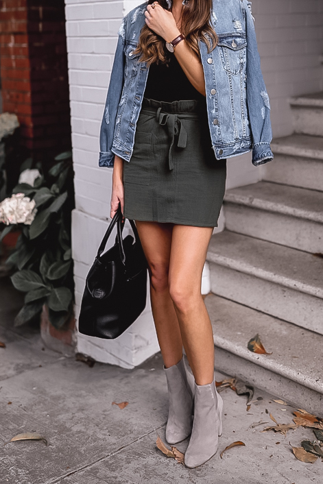 Grey suede midi boots outfit