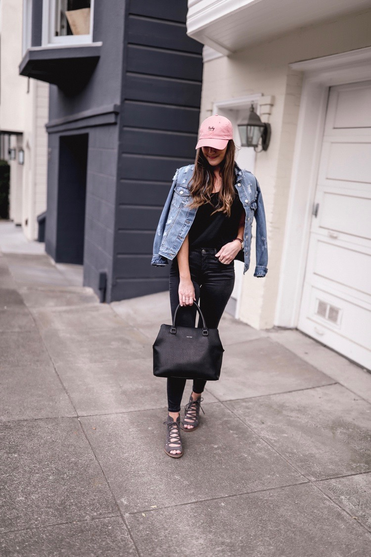 Shop the Look Below.  Topshop Hat  |  Free People Jeans  |  Vince Camuto Sandals  |  Madewell Tee  |  Nordstrom BP Jacket  |  Nordstrom Bag