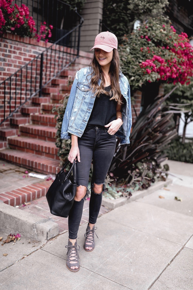 black distressed skinny jeans outfit