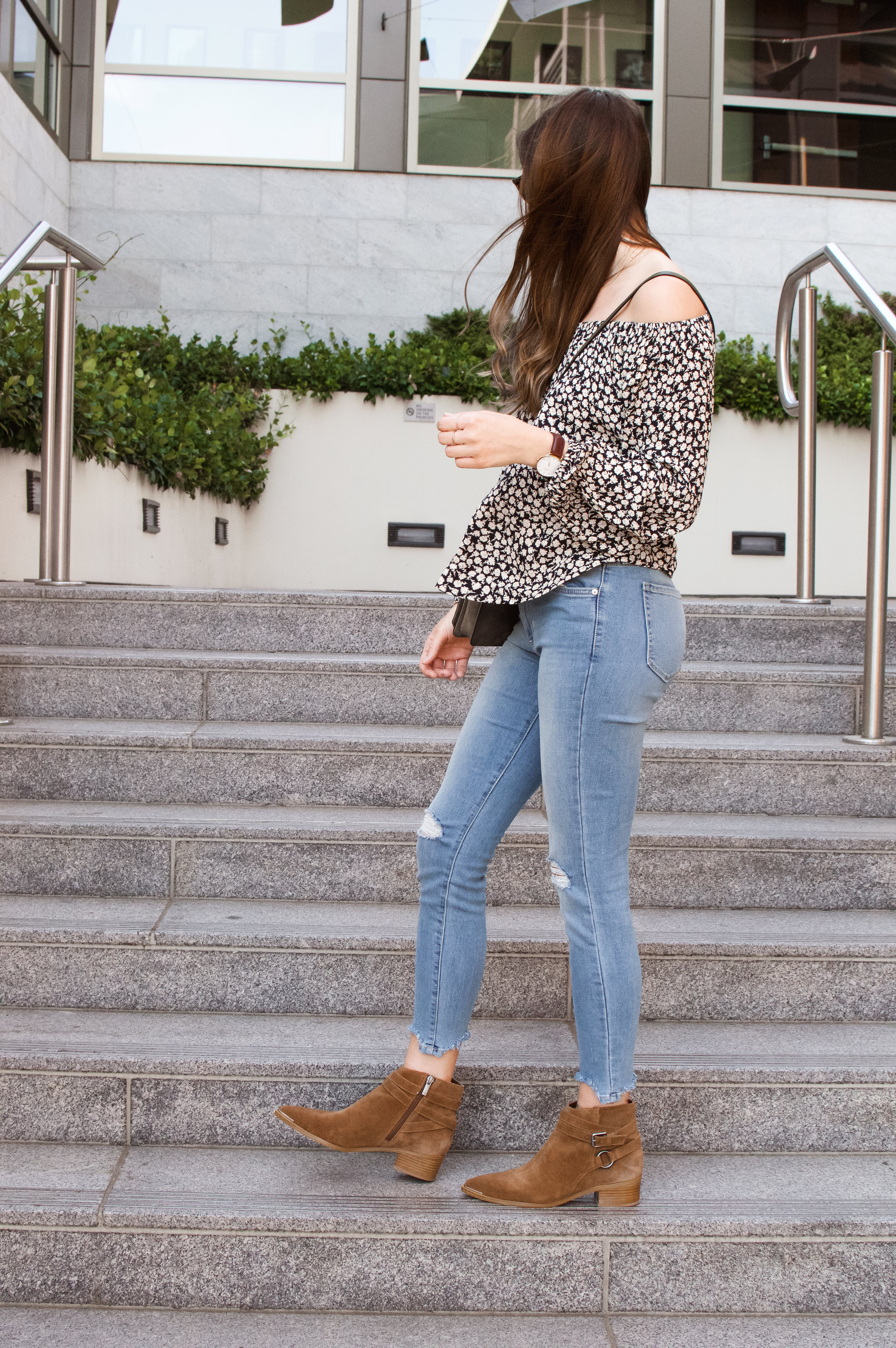 boho off the shoulder outfit