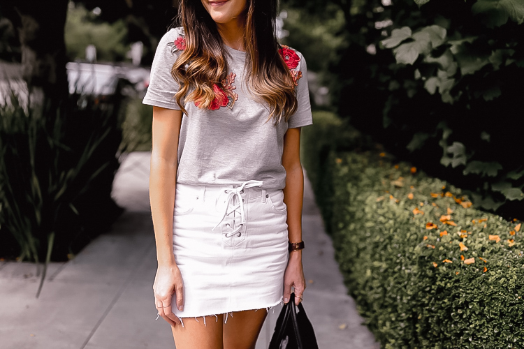 floral embroidered grey tee