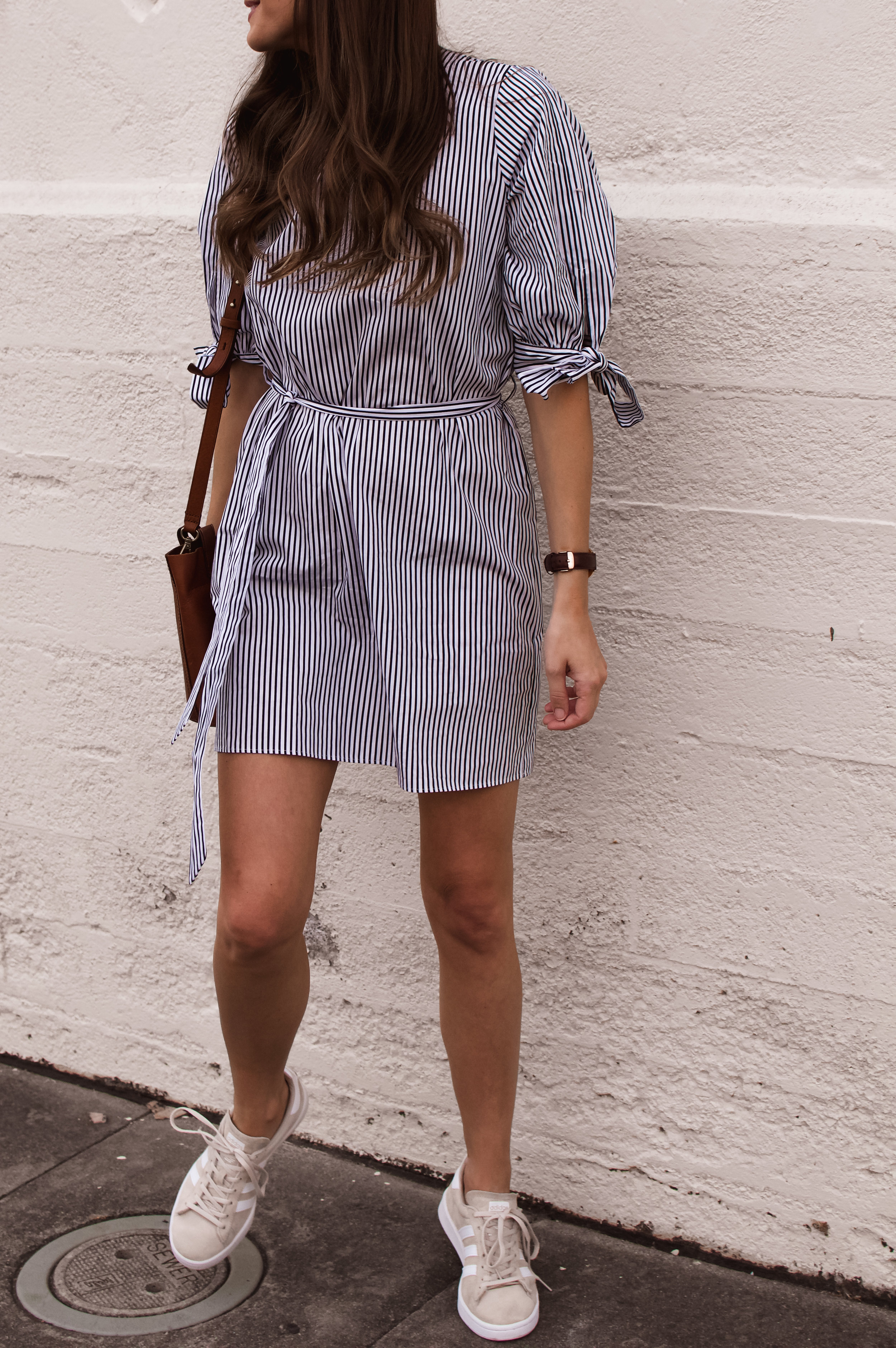 casual dress and sneakers